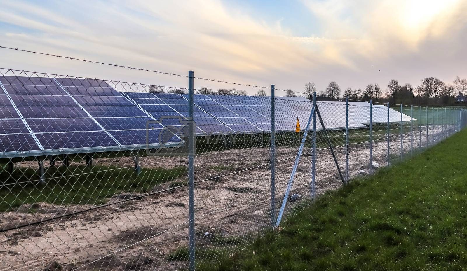 Generating clean energy with solar modules in a big park in nort by MP_foto71