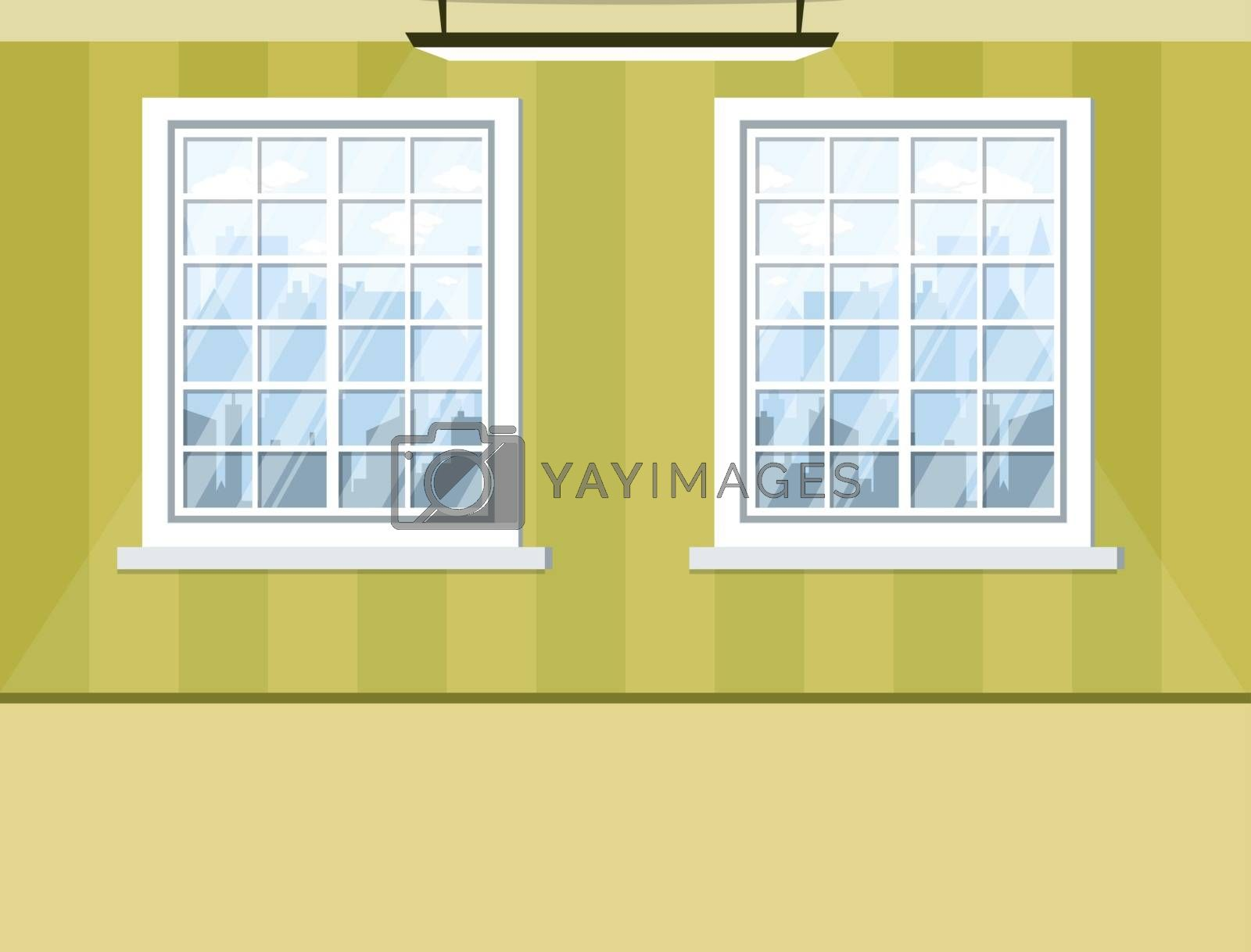 empty room with windows green wall and floor. Background for des by wektorygrafika