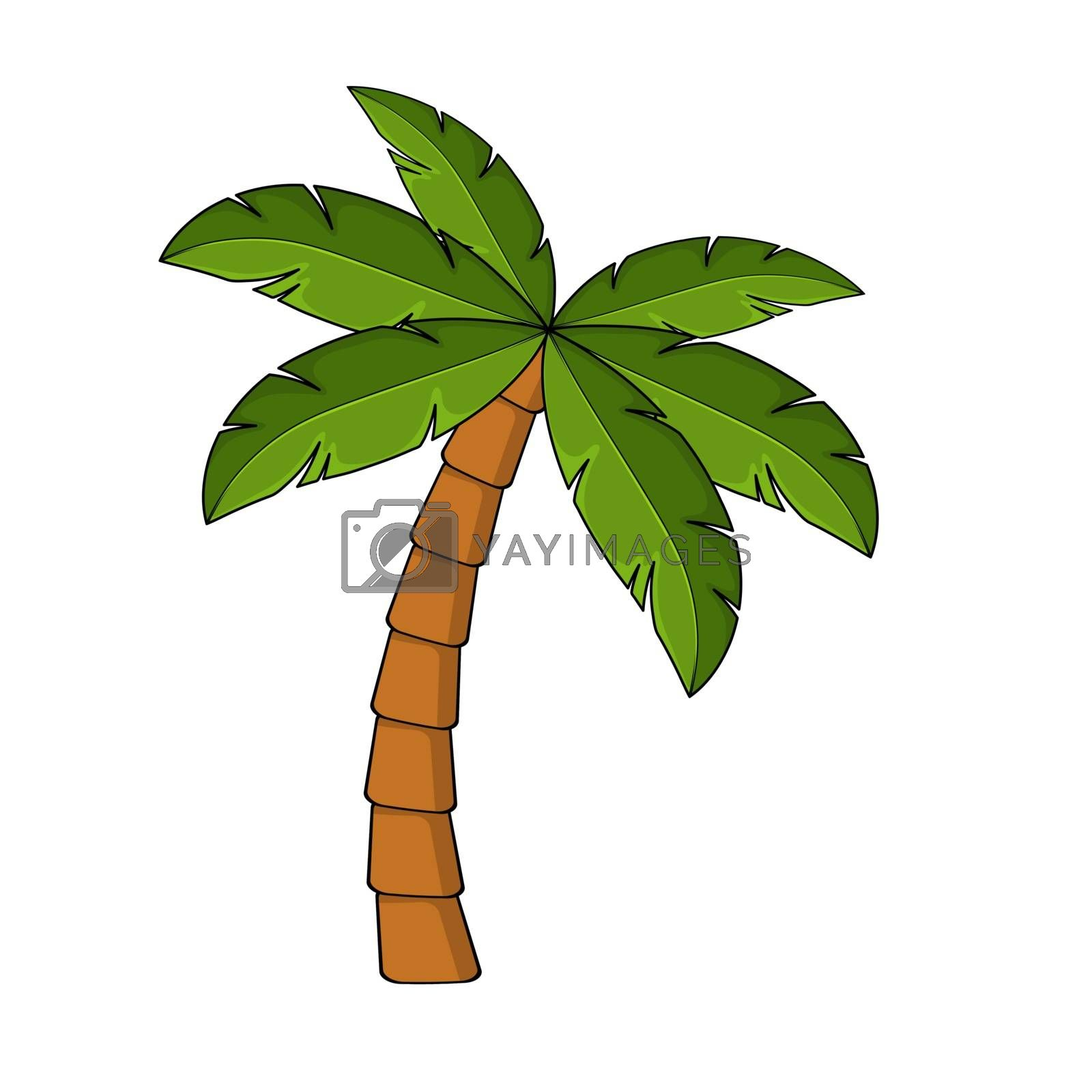 Palm tree cartoon isolated on white. Single palm clipart. Template for poster or postcard. Graphic element for tropical, exotic illustration. One high coco palmtree for summertime drawing.