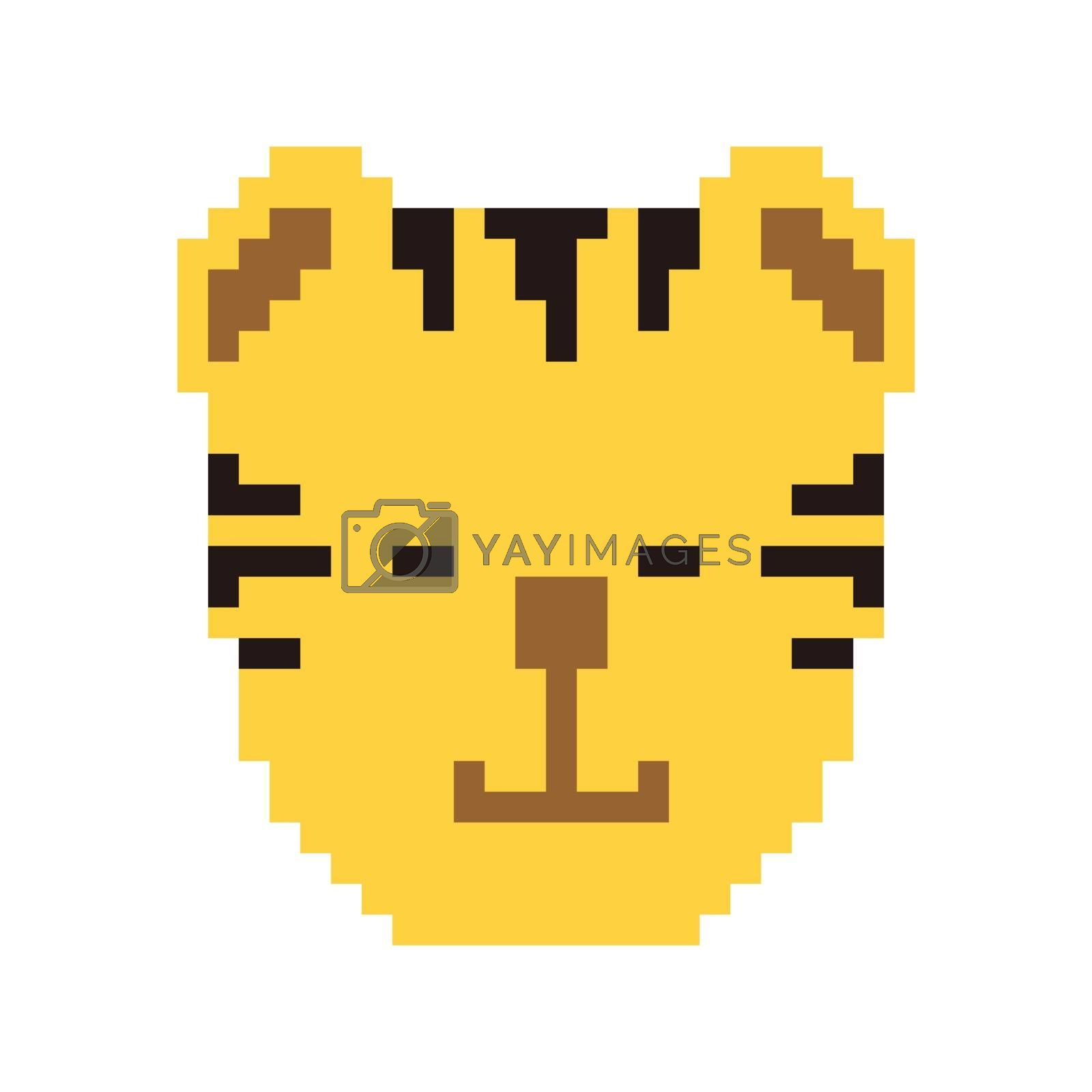 Pixel art cat head. Vector 8 bit game animal character isolated  by wektorygrafika