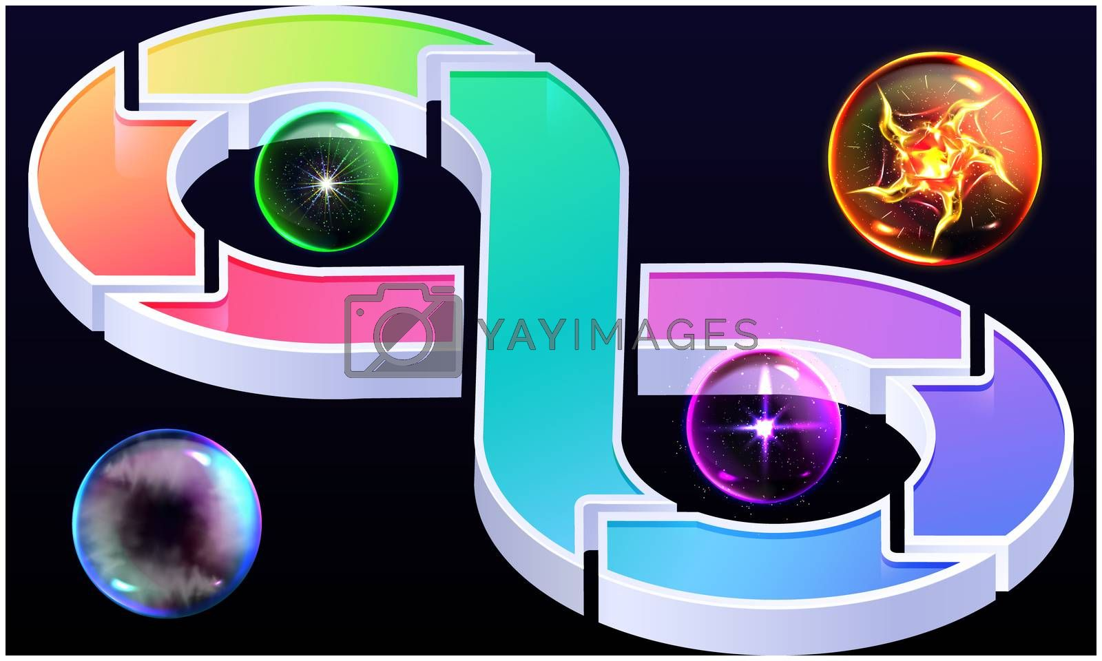infinite loop with bubble on dark background by Aanav Creations