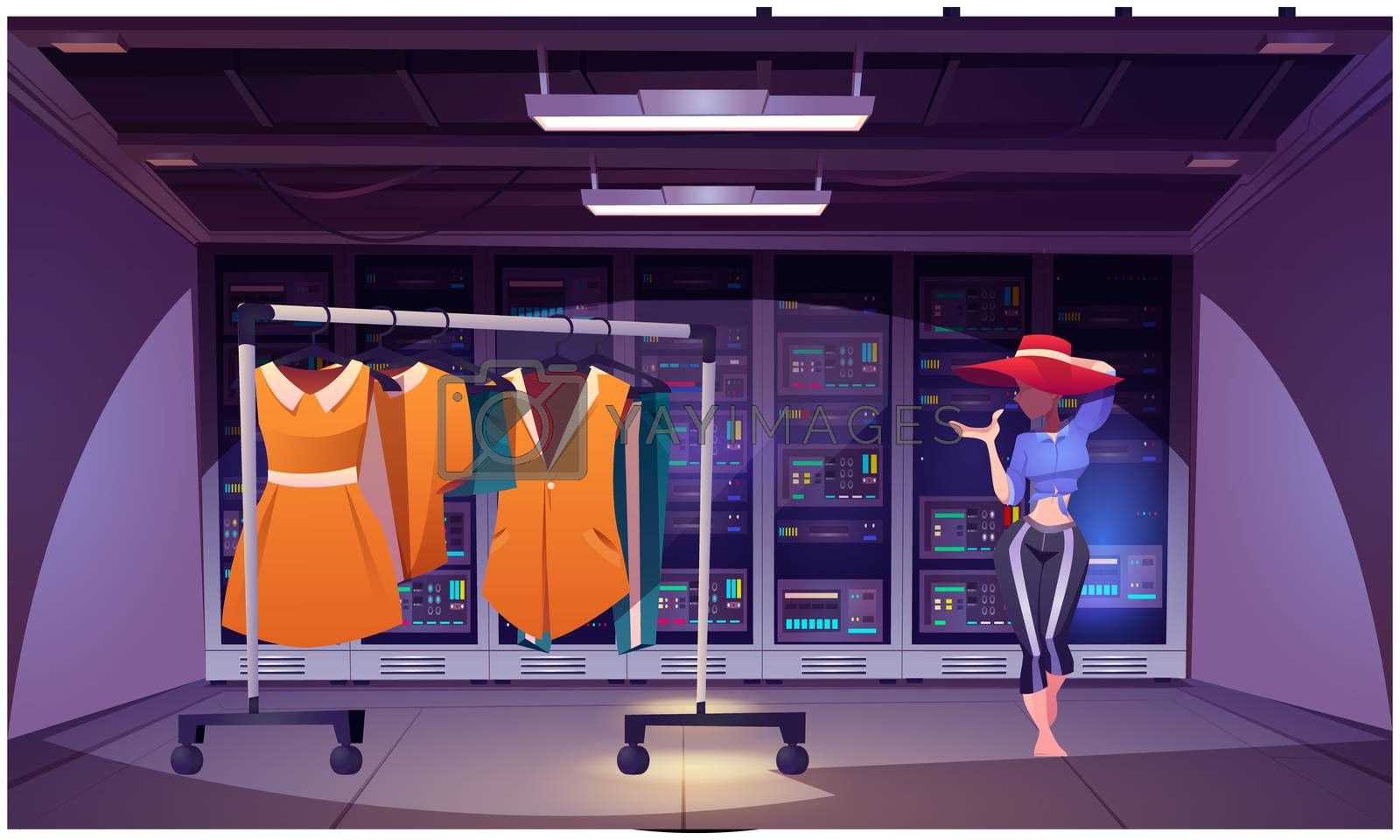mock up illustration of designer showroom on abstract background by Aanav Creations