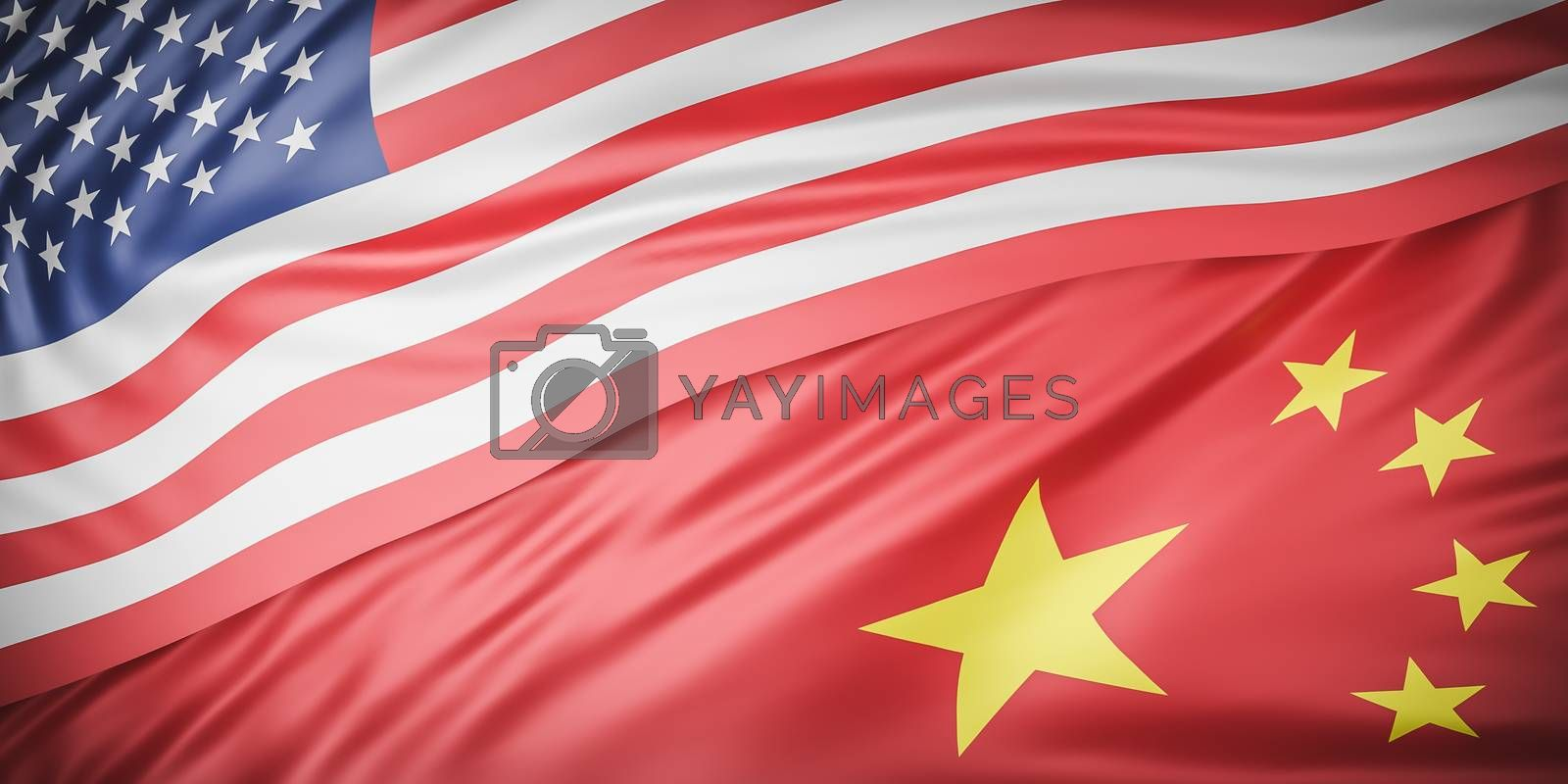 Beautiful American and china Flag Wave Close Up on banner background with copy space.,joining together concept.,3d model and illustration. by anotestocker
