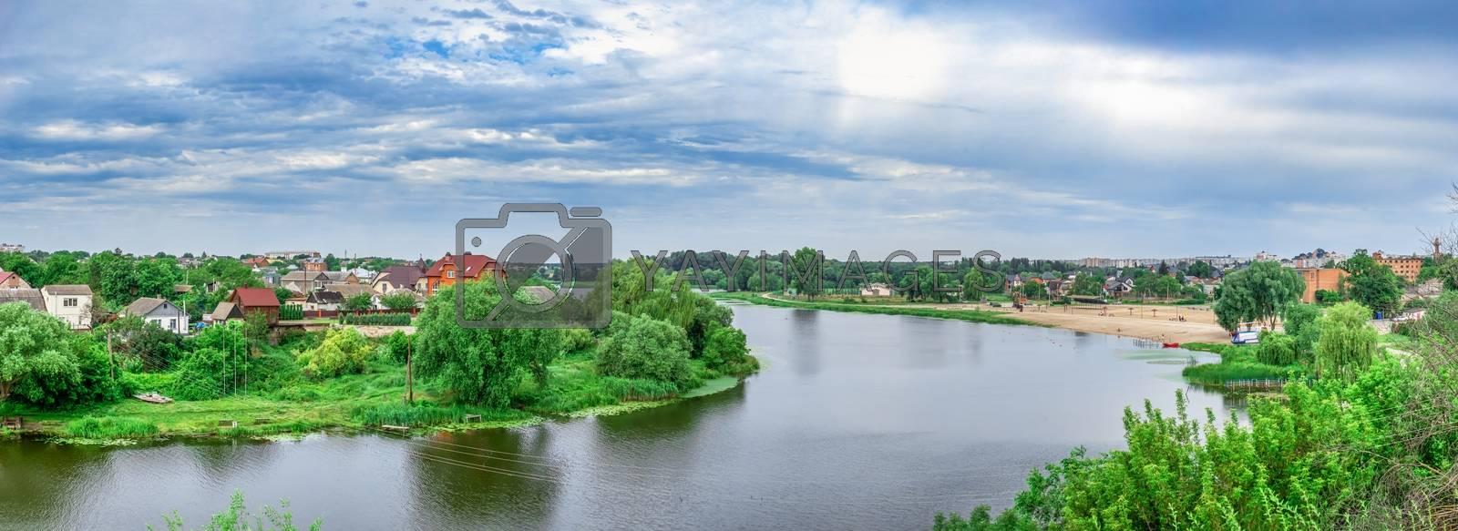 Bila Tserkva, Ukraine 06.20.2020. Ros river in the city of Bila Tserkva, Ukraine, on a cloudy summer day