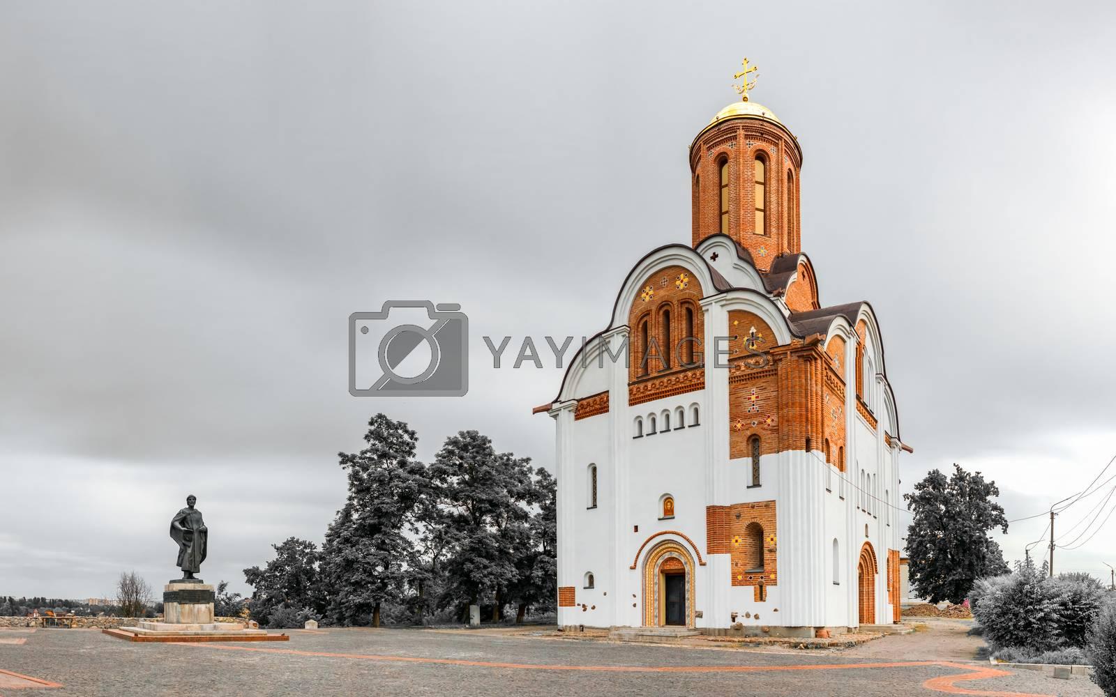Bila Tserkva, Ukraine 06.20.2020. Georgiyivska or Heorhiyivska church in the city of Bila Tserkva, Ukraine, on a cloudy summer day