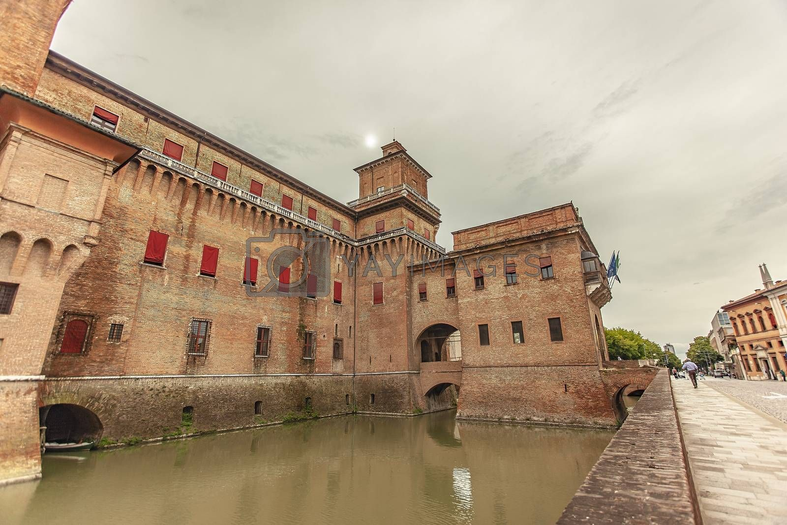 Detail of Ferrara's castle in Italy, an example of medieval architecture in the historical italian city