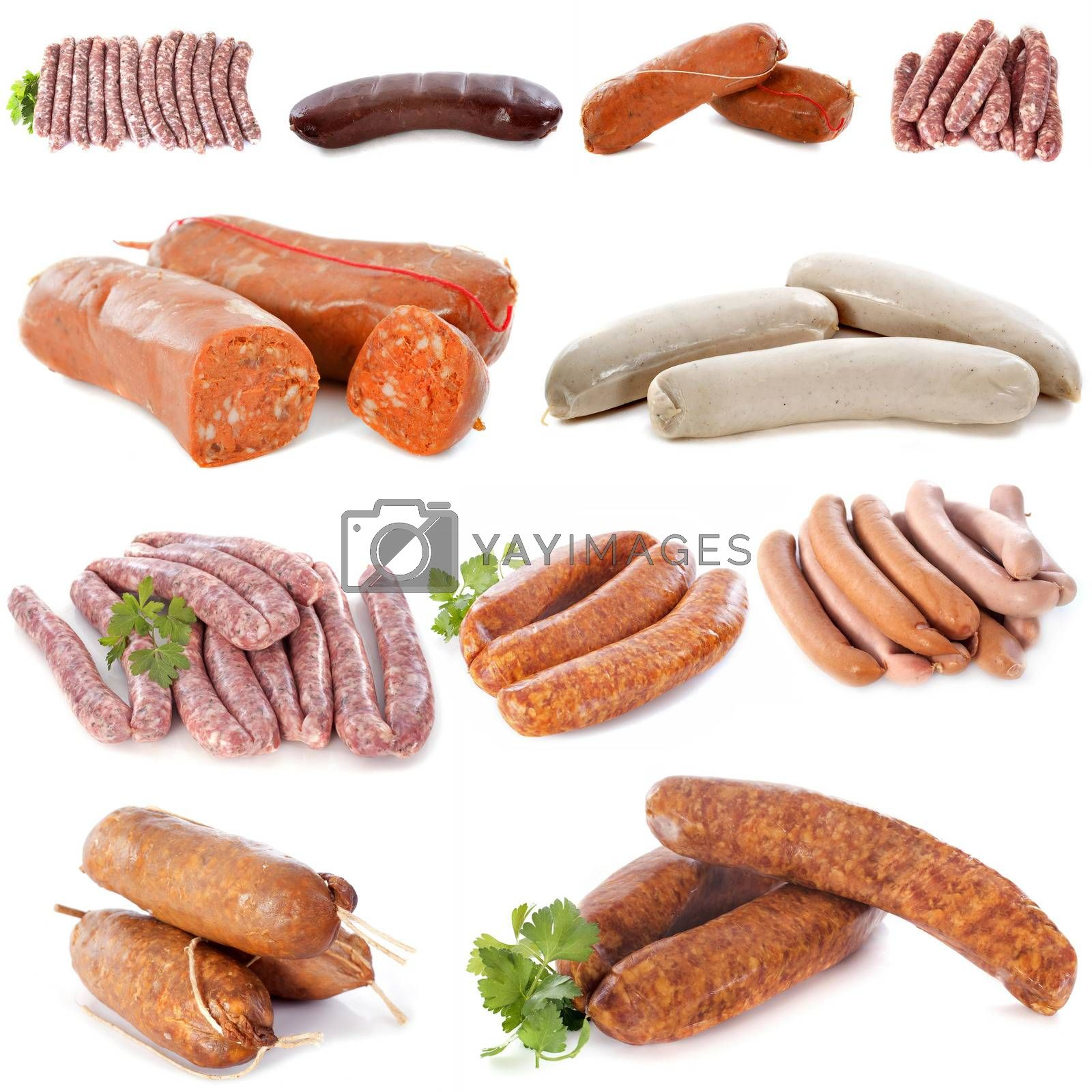 barbecue meat in front of white background