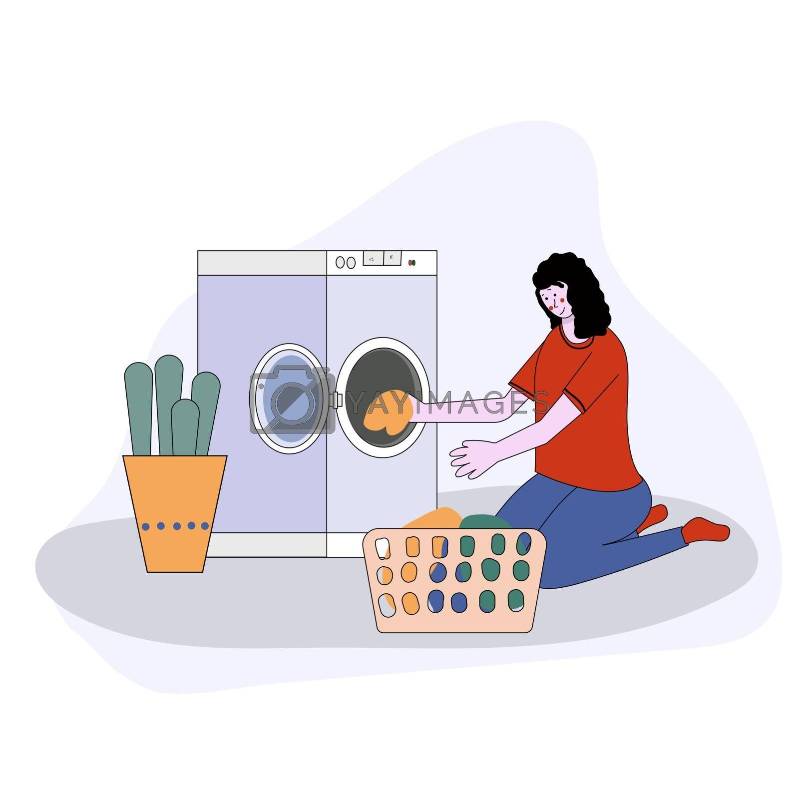 woman doing laundry putting dirty clothes on washing machine from basket. Vector illustration cartoon style