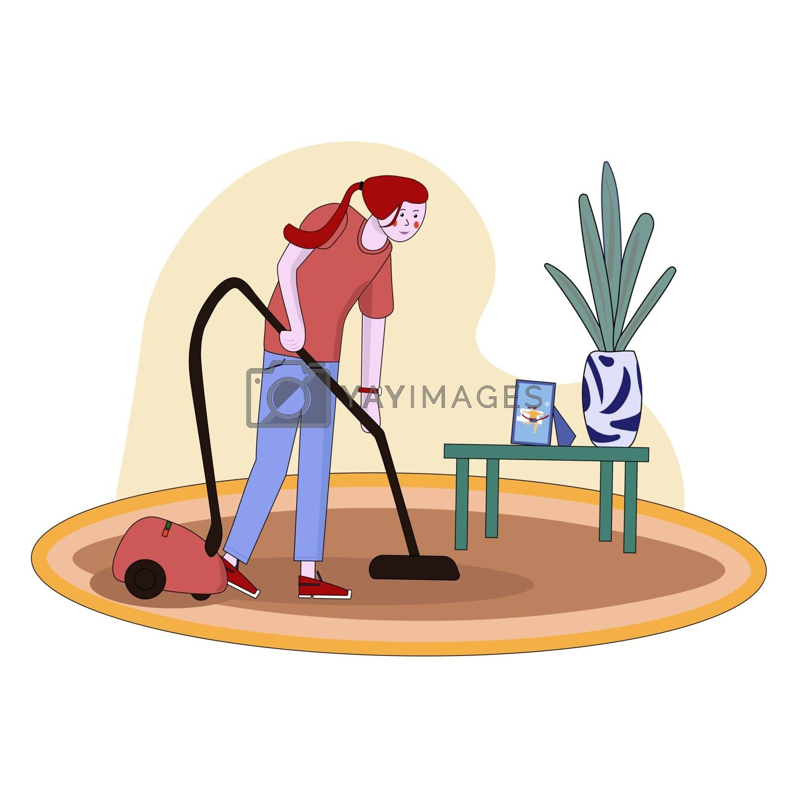 Housewife vacuuming home with a vacuum cleaner. Pretty woman doing domestic work. Cartoon character. Vector illustration.