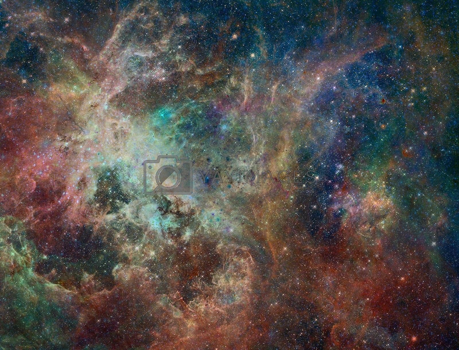 This image from ESA's Herschel Space Observatory shows of a portion of the Rosette nebula, a stellar nursery about 5,000 light-years from Earth in the Monoceros, or Unicorn, constellation.