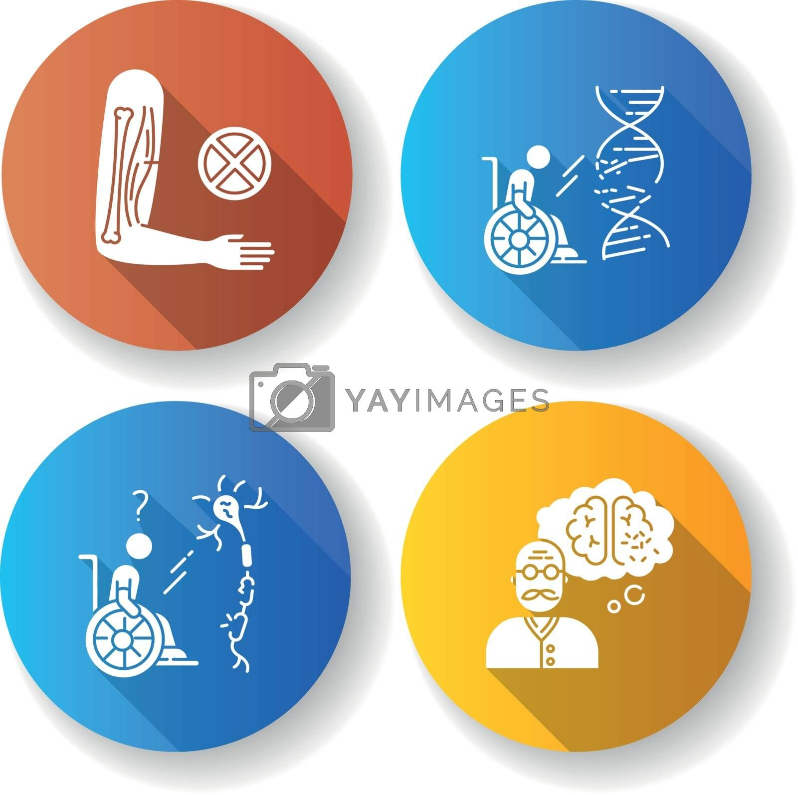 Disability flat design long shadow glyph icons set. Muscular dystrophy. . Paralyzed patient in wheelchair. Spinal cord damage. Aging man with dementia. Silhouette RGB color illustration
