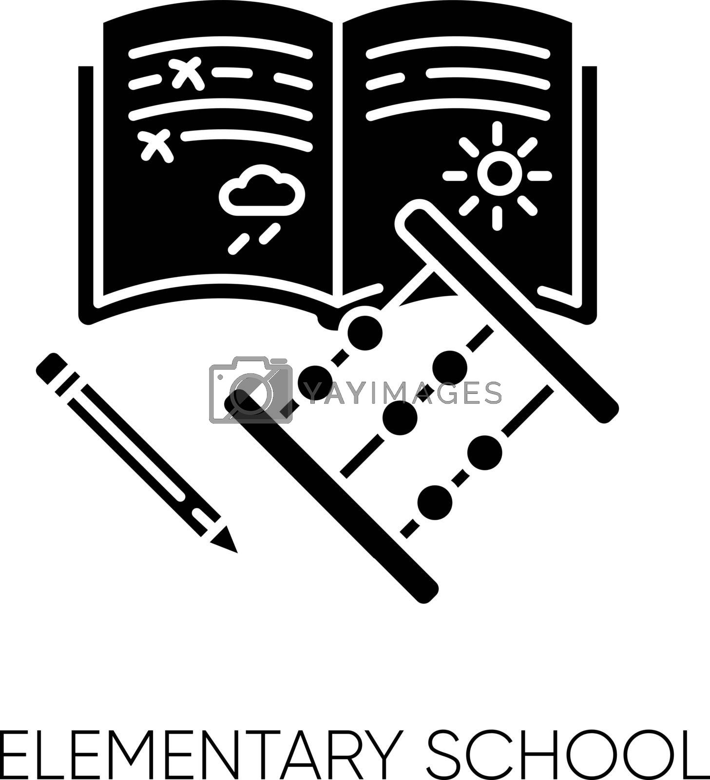 Elementary school black glyph icon. Primary education, basic knowledge silhouette symbol on white space. Junior year student equipment. Copybook, pencil and abacus vector isolated illustration