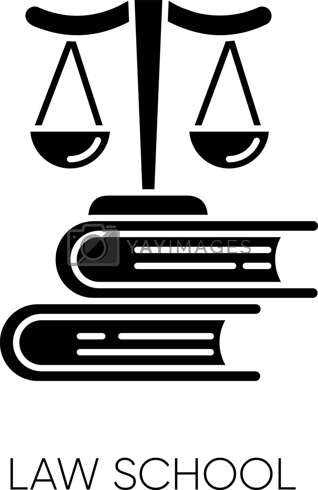 Law school black glyph icon. Professional jurisprudence education, judicial system. Legal court trial, justice silhouette symbol on white space. Scales on books stack vector isolated illustration