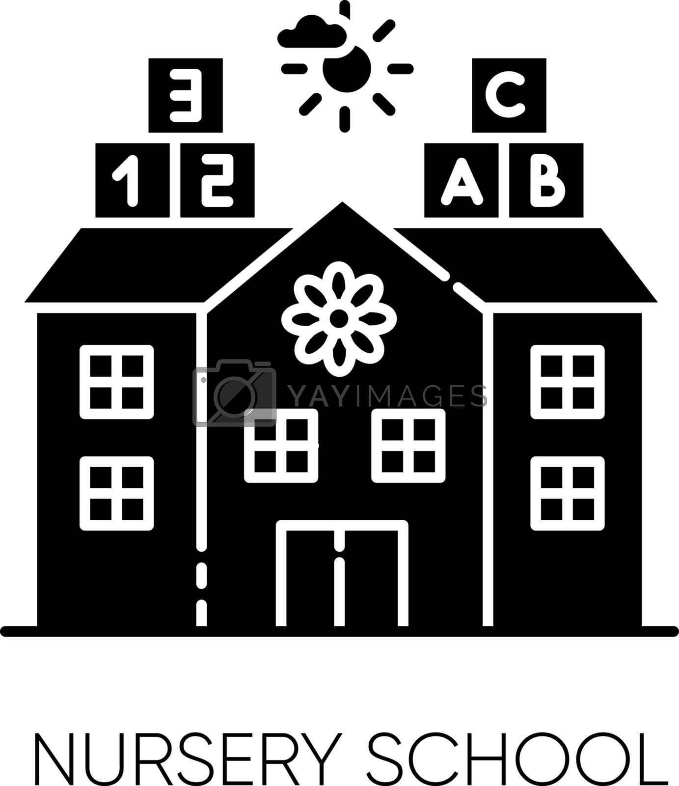 Nursery school black glyph icon. Pre primary, elementary education establishment for little children. Play school, day care, kindergarten silhouette symbol on white space. Vector isolated illustration