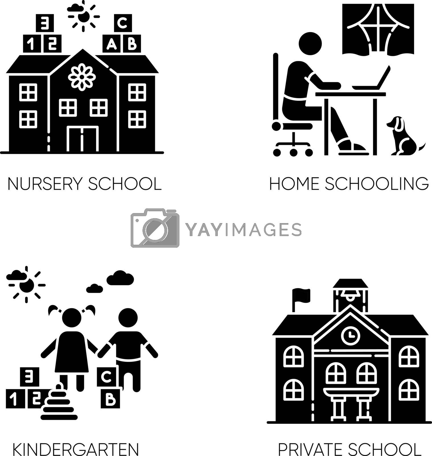 Academic studying black glyph icons set on white space. Nursery school, kindergarten and home schooling. Private elementary and secondary education silhouette symbols. Vector isolated illustrations