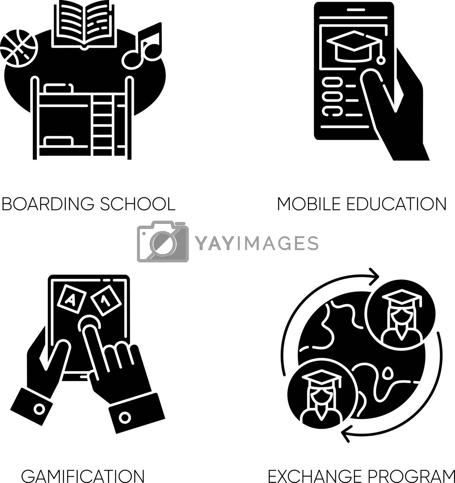 Modern learning opportunities black glyph icons set on white space. Boarding school, mobile education, gamification and student exchange program silhouette symbols. Vector isolated illustrations