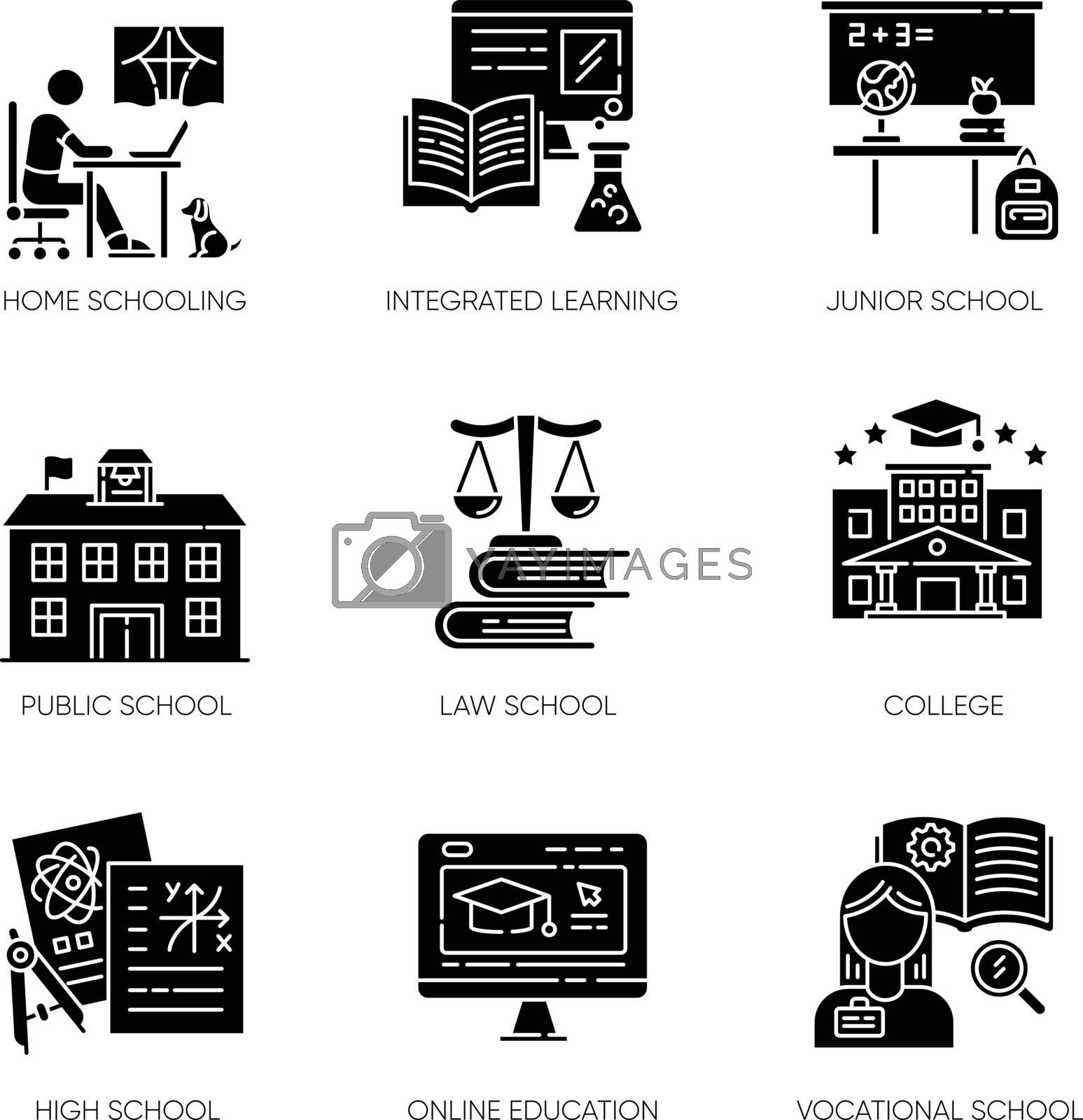 Education system black glyph icons set on white space. Teaching methods, home schooling and online classes. Primary, secondary and higher education silhouette symbols. Vector isolated illustrations