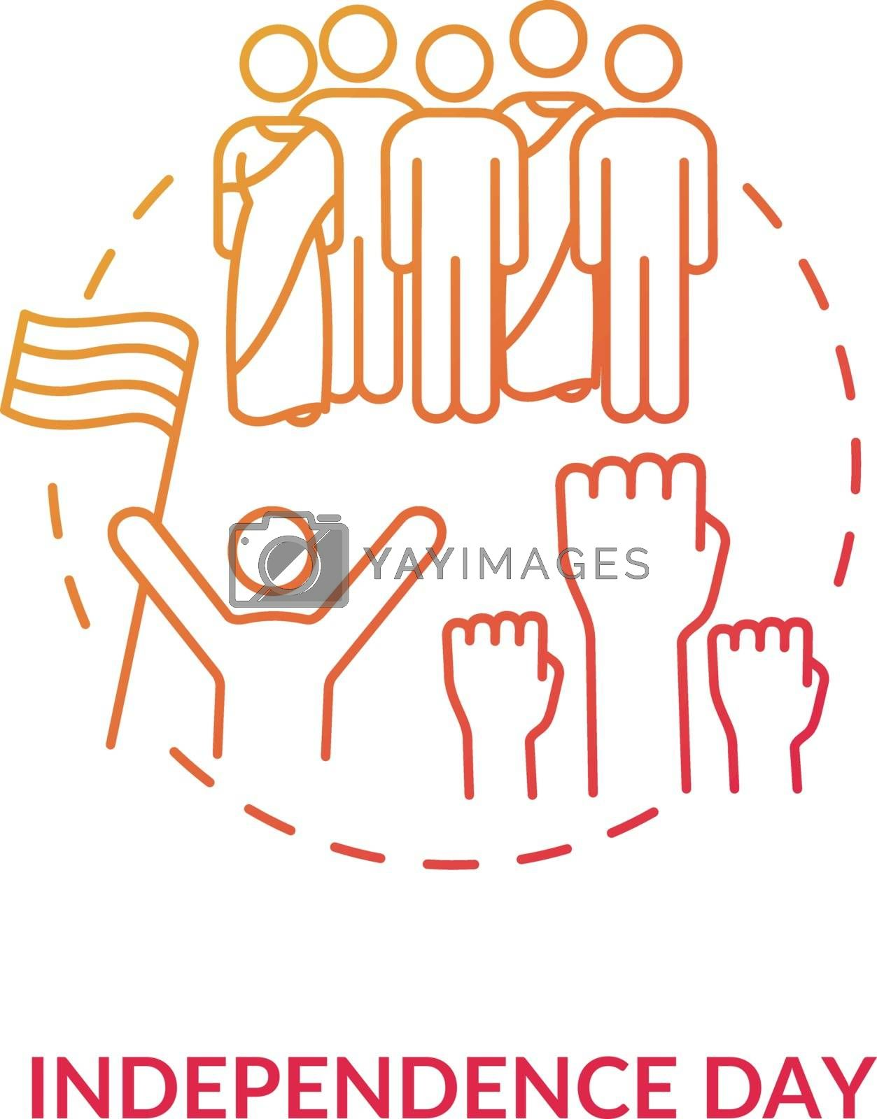 Independence day concept icon. National indian holiday idea thin line illustration. Annual festival in India. Celebrating people with flag vector isolated outline RGB color drawing