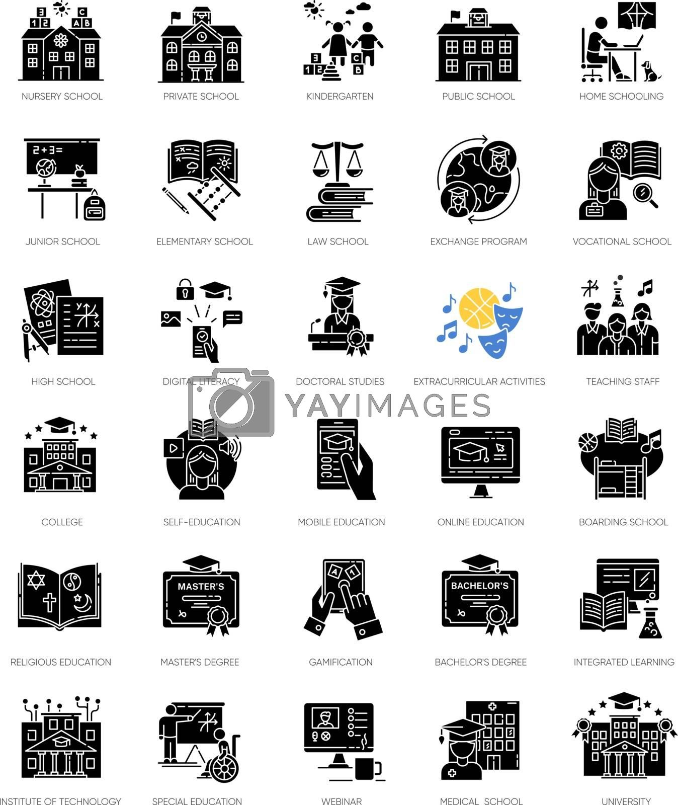 Education black glyph icons set on white space. Learning process, student life. Modern education system silhouette symbols. Academic institutions and teaching types. Vector isolated illustrations