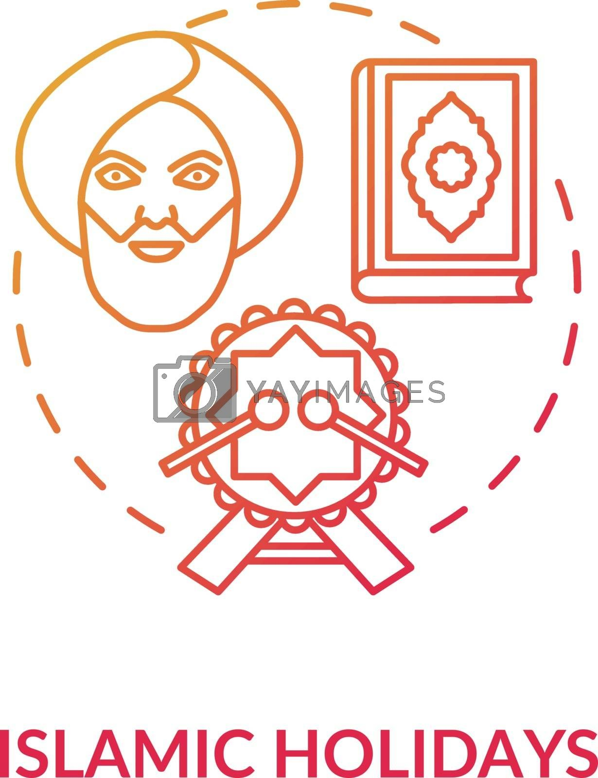 Islamic holidays concept icon. Religious celebrations in India, islam idea thin line illustration. Prophet muhammad, quran and festive drum vector isolated outline RGB color drawing