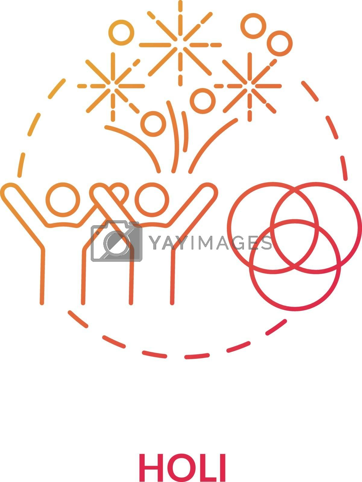 Holi concept icon. National indian holiday, traditional hindu festival idea thin line illustration. Happy people and colorful gulaal vector isolated outline RGB color drawing