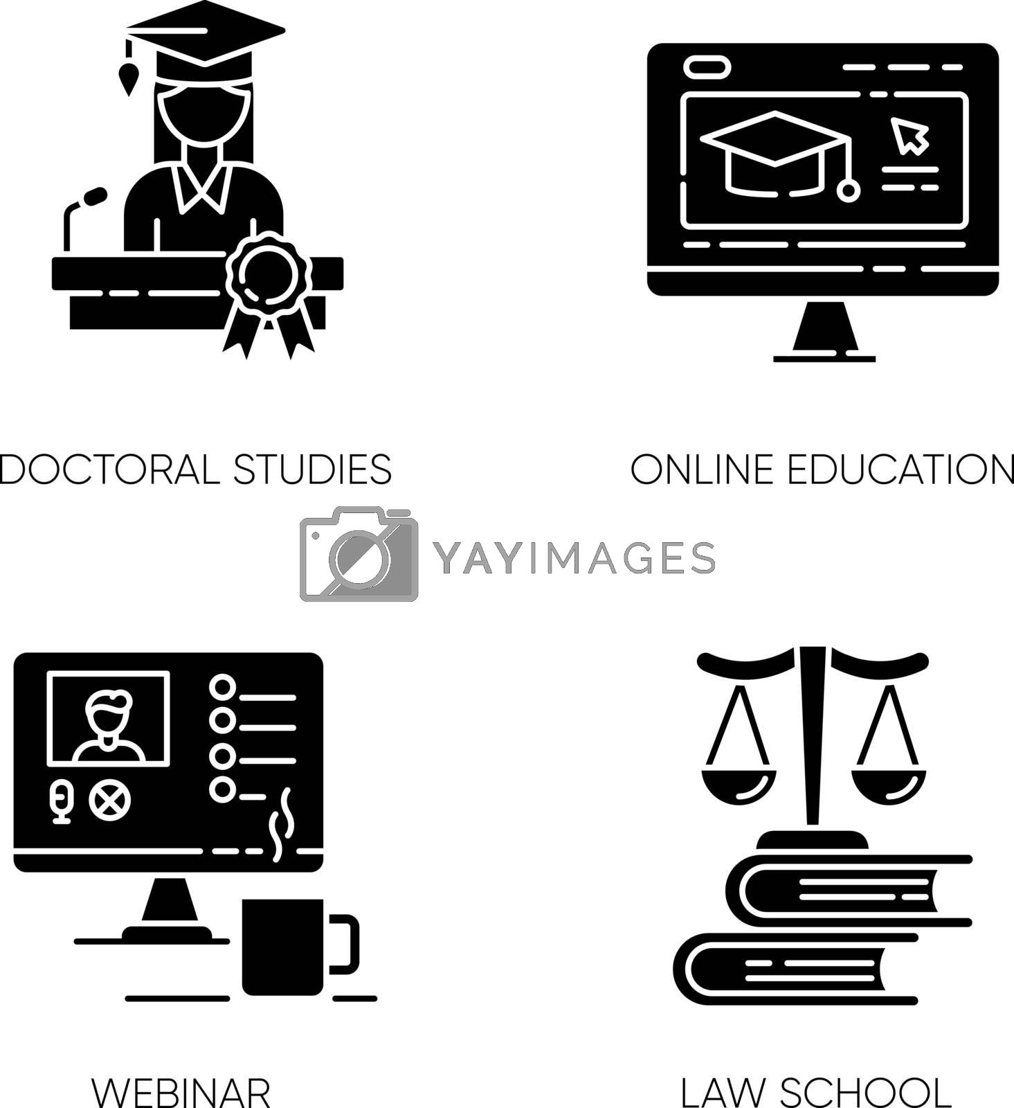 Modern higher education black glyph icons set on white space. Doctoral studies, law school, online training courses and webinars silhouette symbols. Diploma obtaining. Vector isolated illustrations