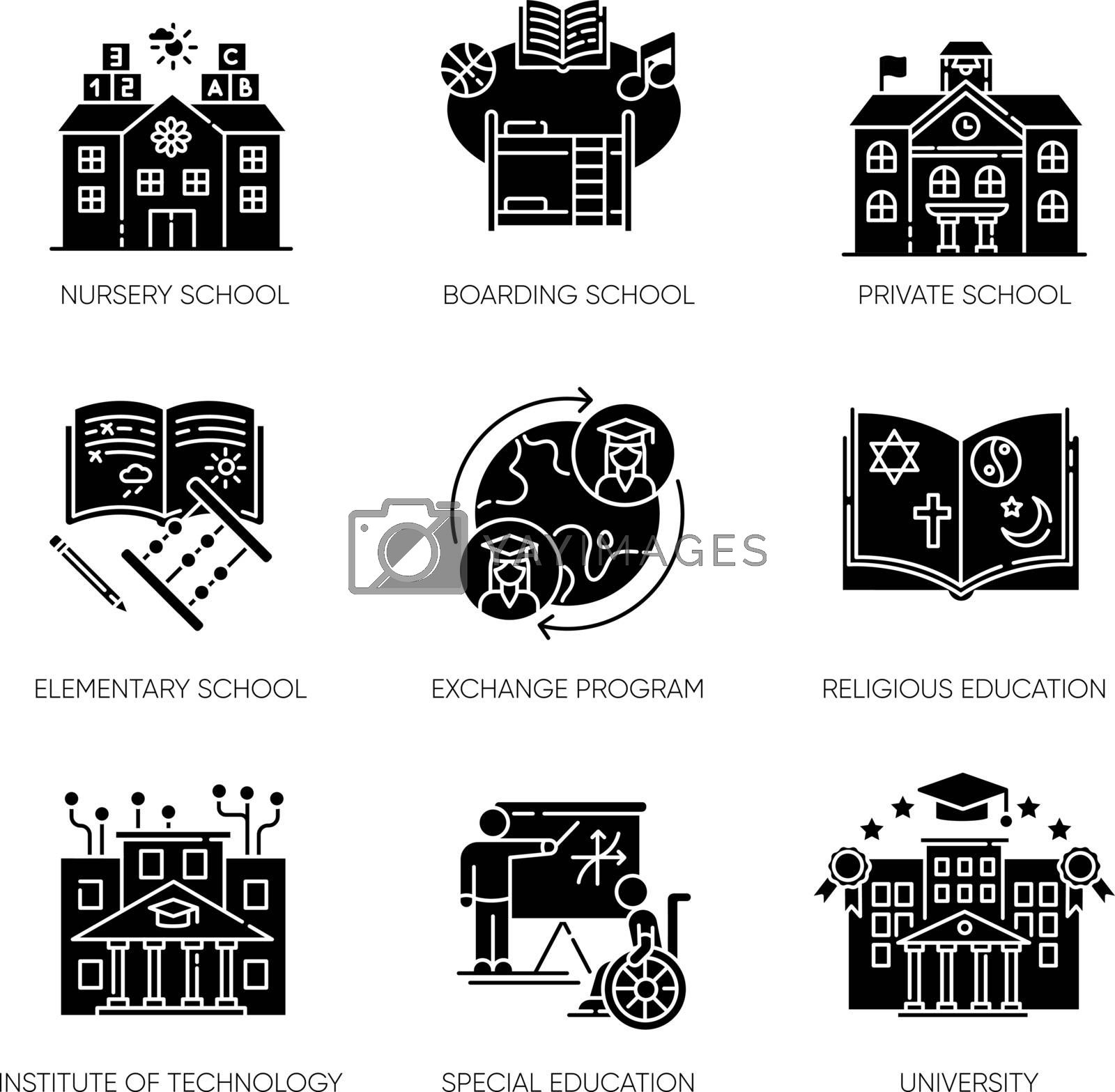 Academic education black glyph icons set on white space. Public and private school services silhouette symbols. Inclusive education and student exchange programs. Vector isolated illustrations
