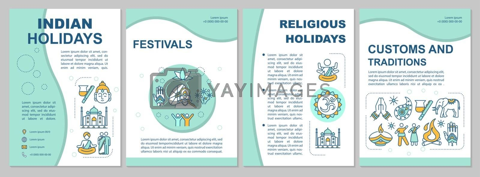 Indian culture brochure template. Indian holidays and traditions flyer, booklet, leaflet print, cover design with linear icons. Vector layouts for magazines, annual reports, advertising posters