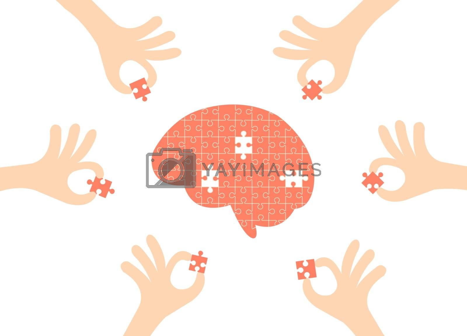 Brain jigsaw with hand holding pieces of the puzzle isolated on white background.