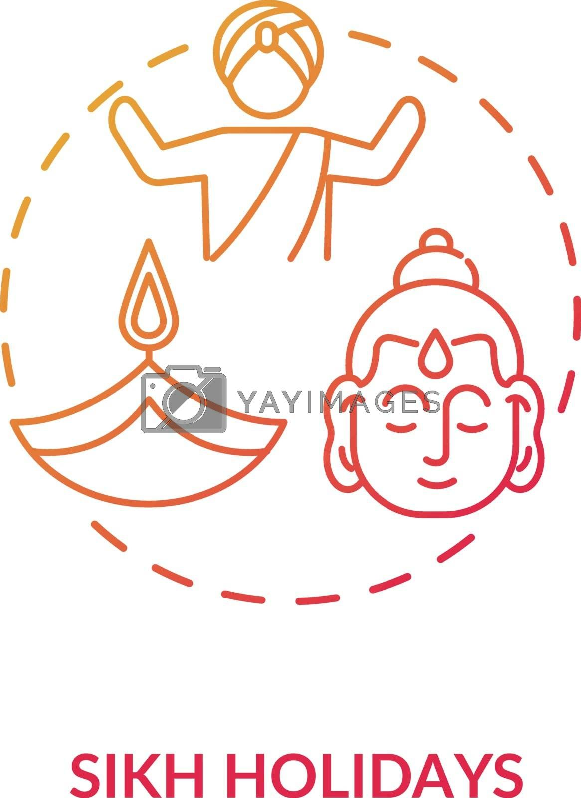 Sikh holidays concept icon. Indian religious festivals, traditions and culture celebration. Sikhism idea thin line illustration. Vector isolated outline RGB color drawing
