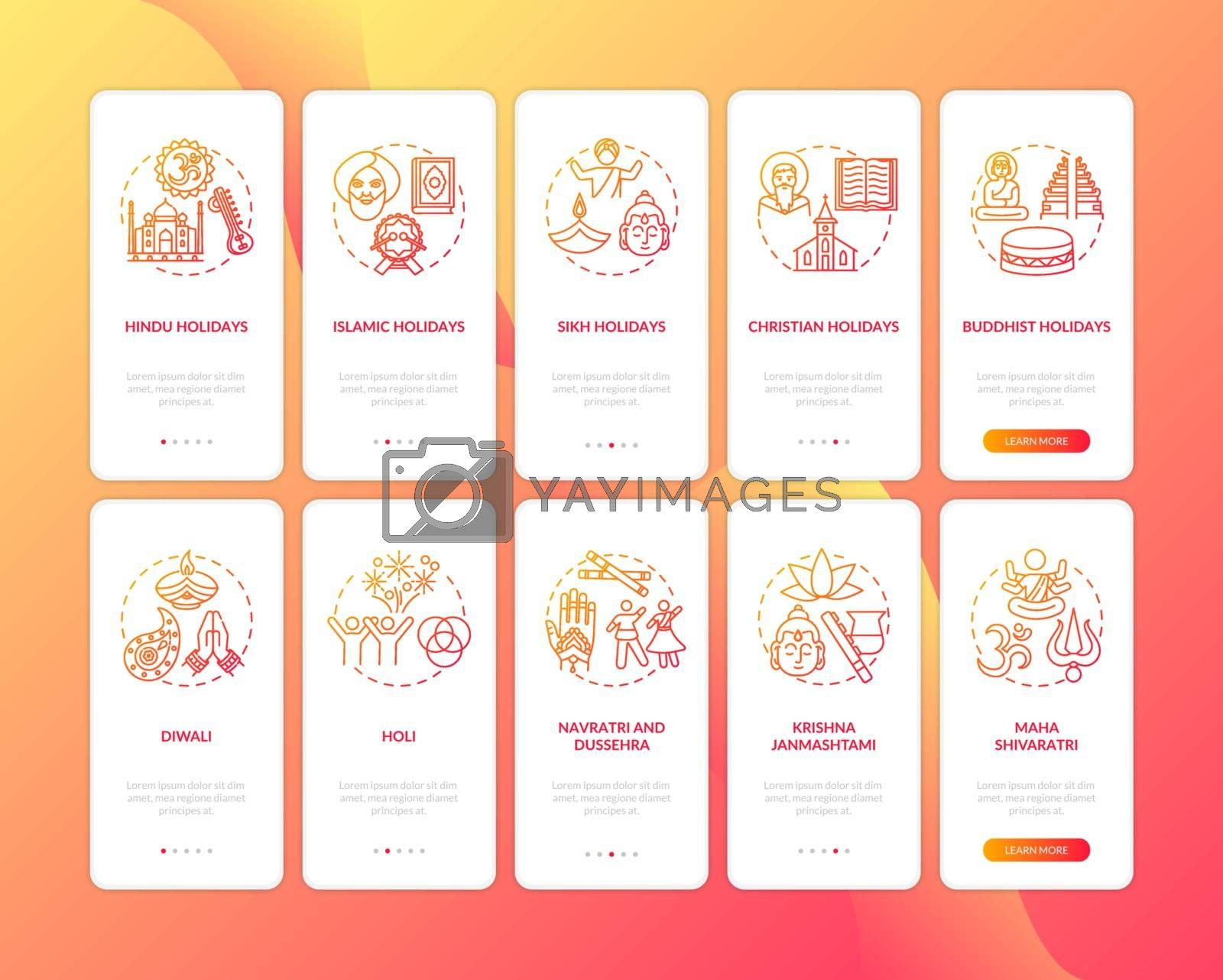 Indian holidays onboarding mobile app page screen with concepts set. Sikh holidays. Holi and Diwali. Walkthrough 5 steps graphic instructions. UI vector template with RGB color illustrations