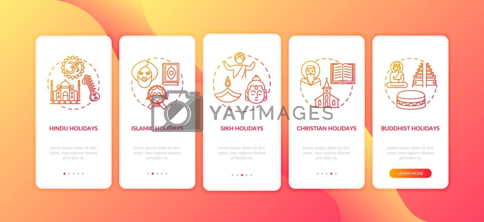 Indian religious holidays onboarding mobile app page screen with concepts. Buddhist holidays. Walkthrough 5 steps graphic instructions. UI vector template with RGB color illustrations