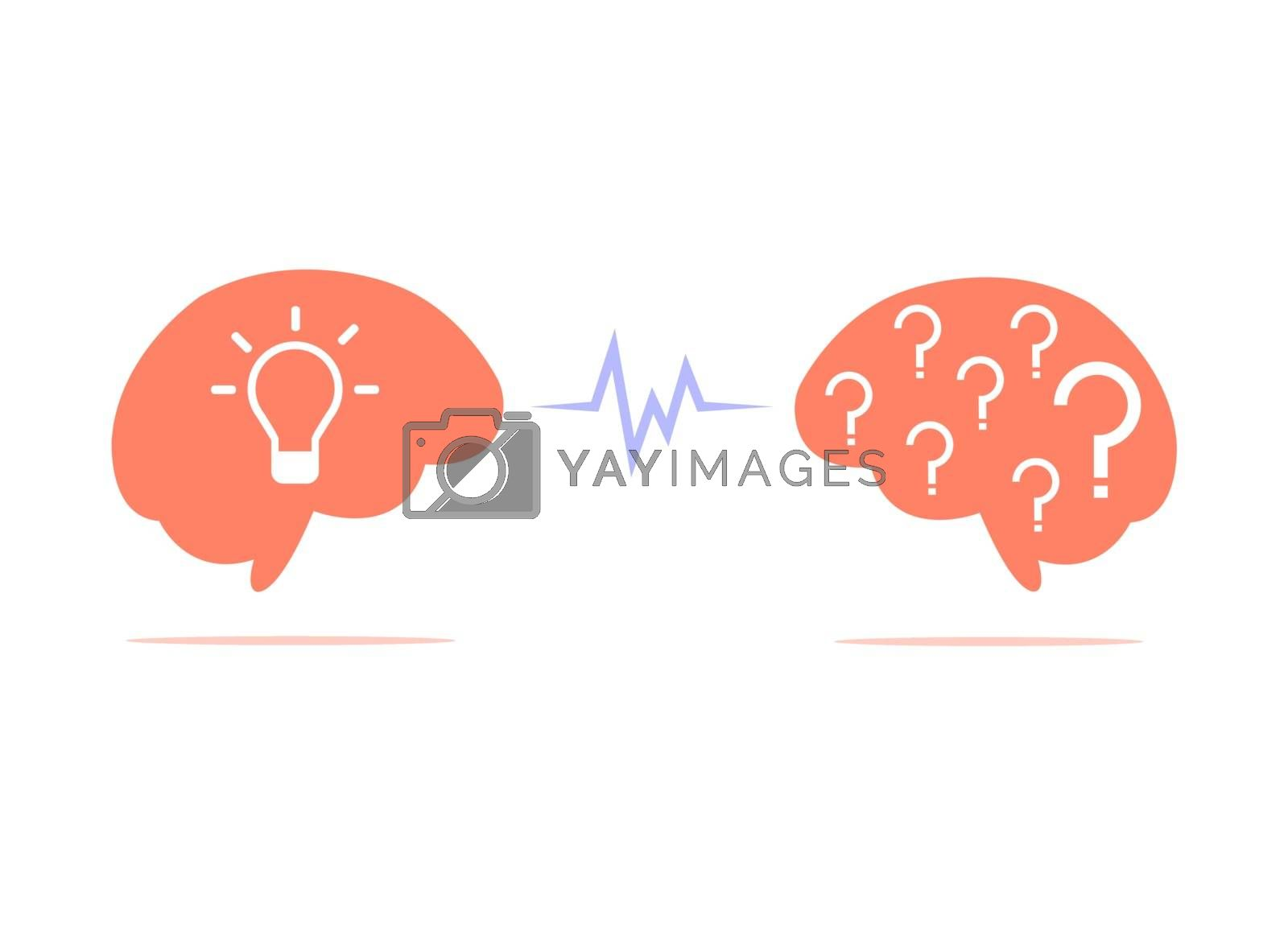 The brain with the lamp inside is facing the brain with a question mark inside isolated on white background.