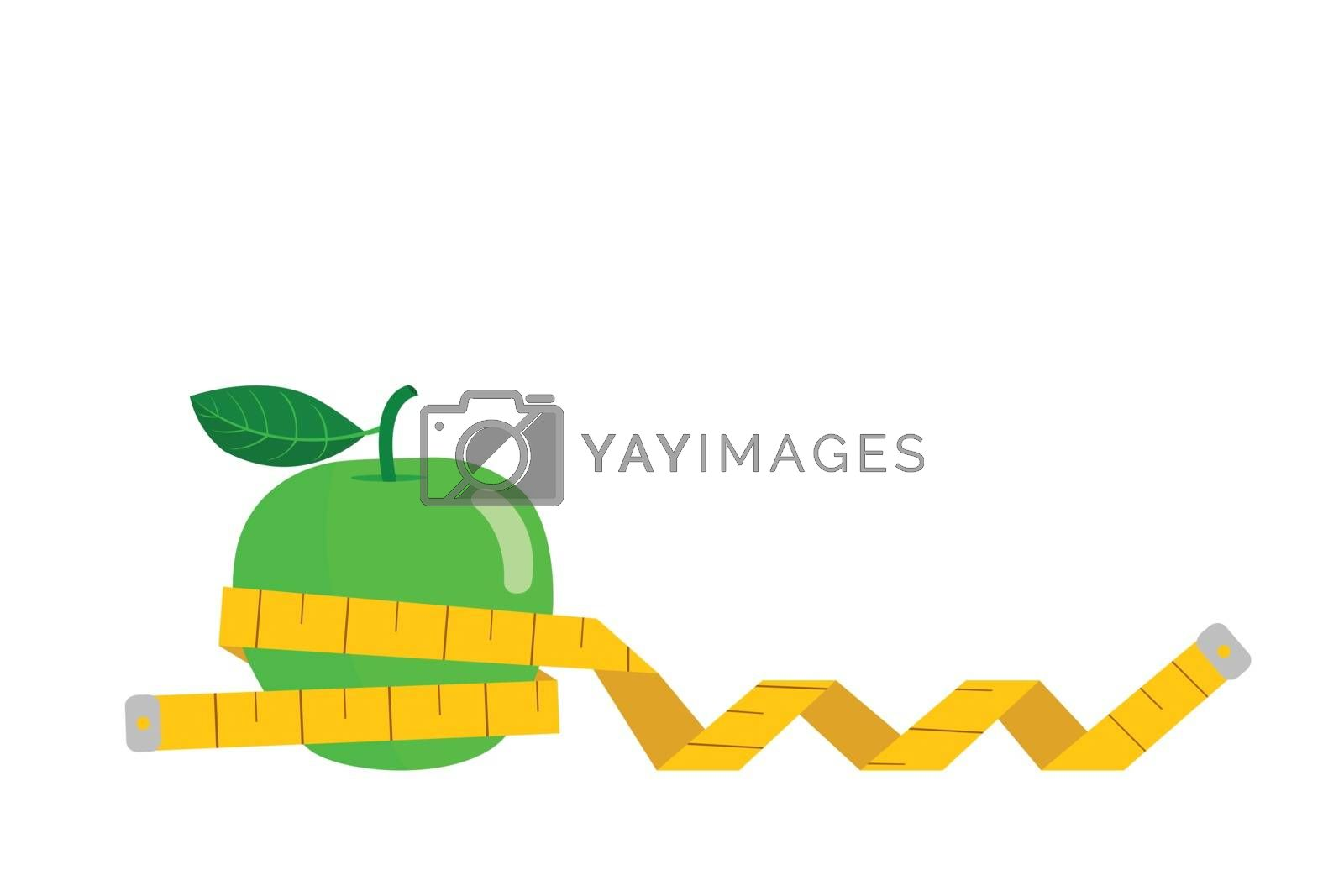 Green apple wrapped with tape measure isolated on white background.
