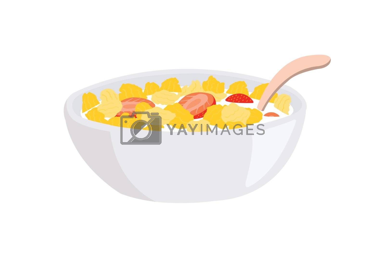 Corn flakes and strawberry in a bowl with milk and spoon isolated on white background.