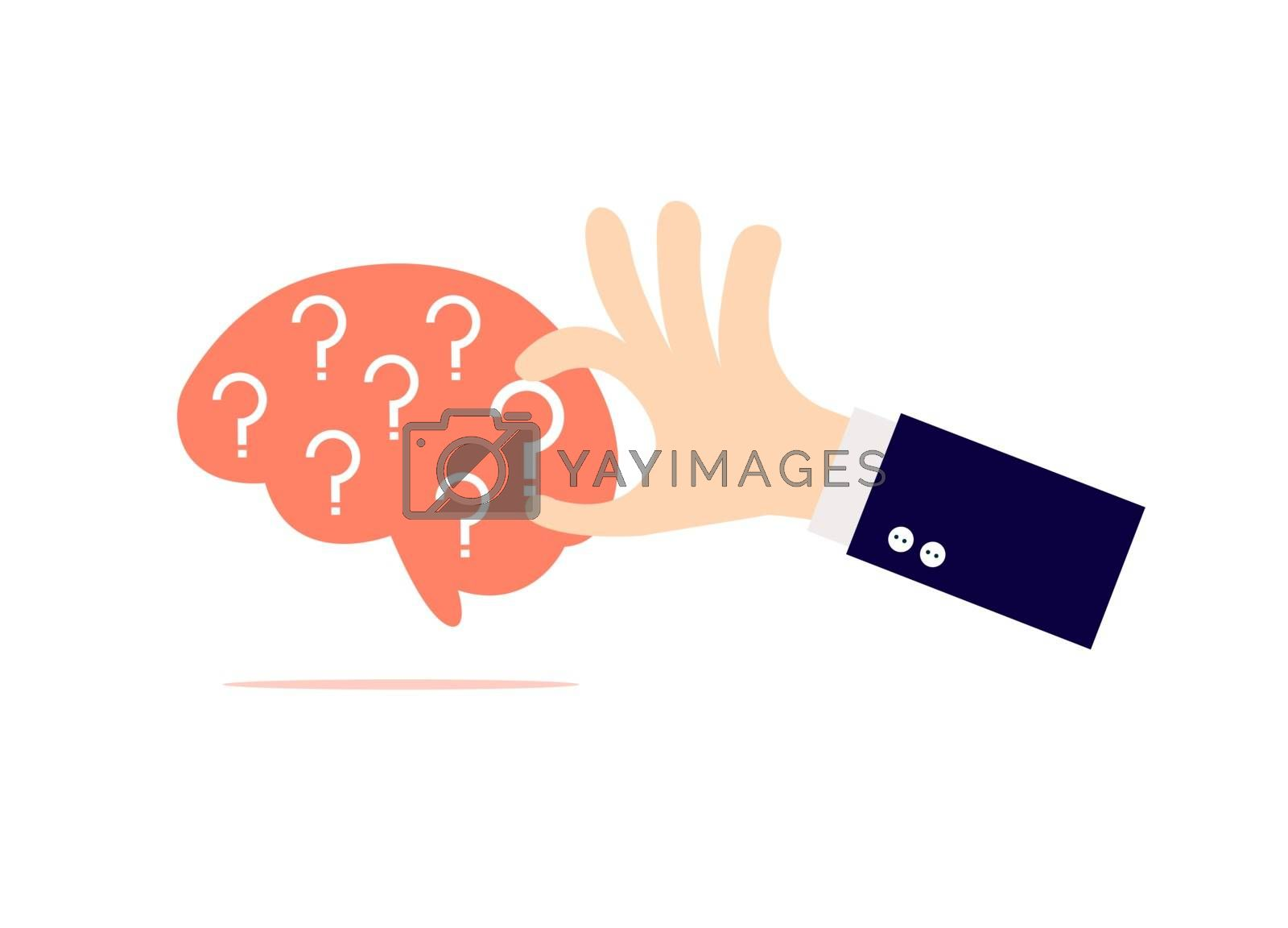 The hand is holding the question mark in the brain. A question mark inside the brain.