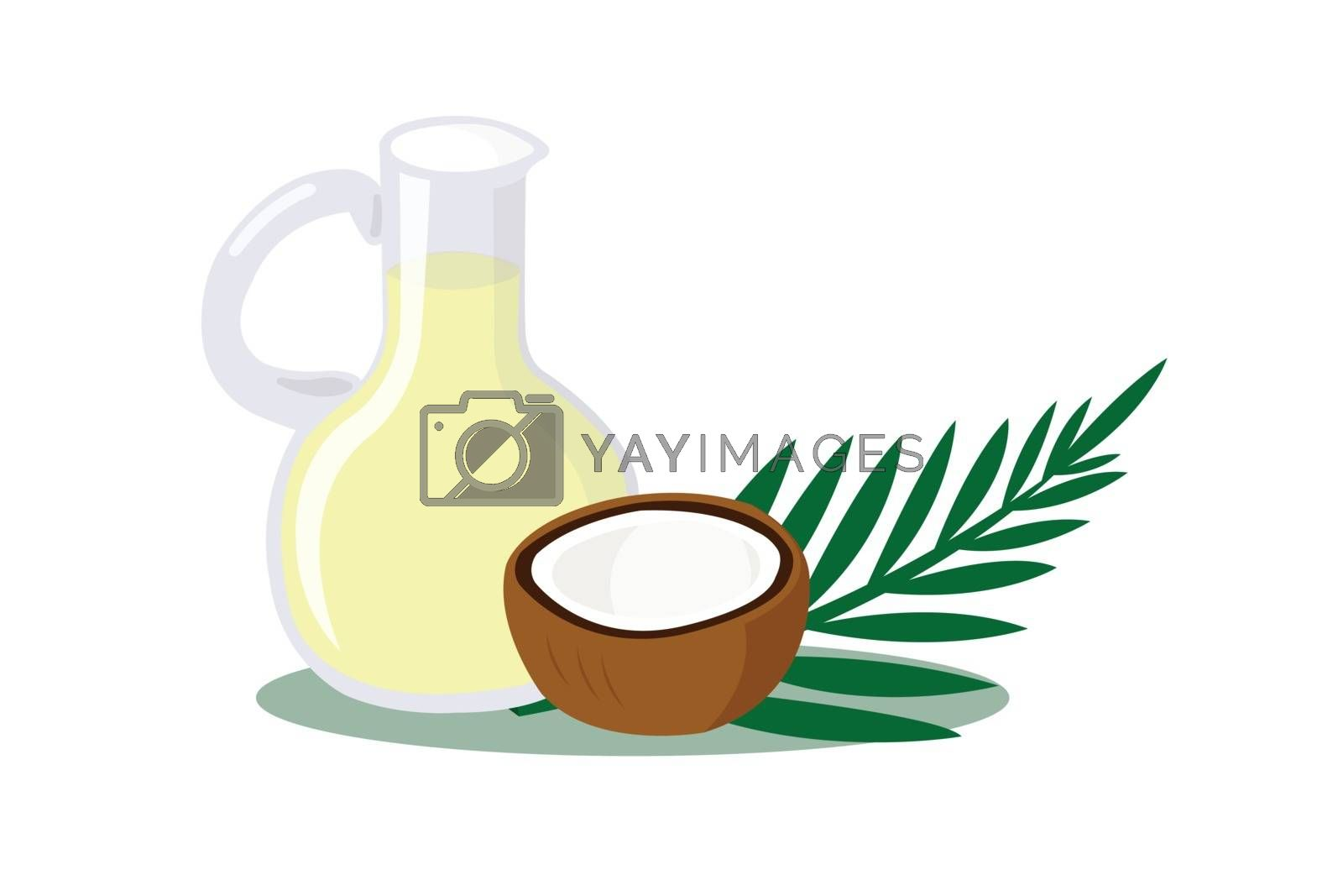 Coconut and coconut oil isolated on white background.