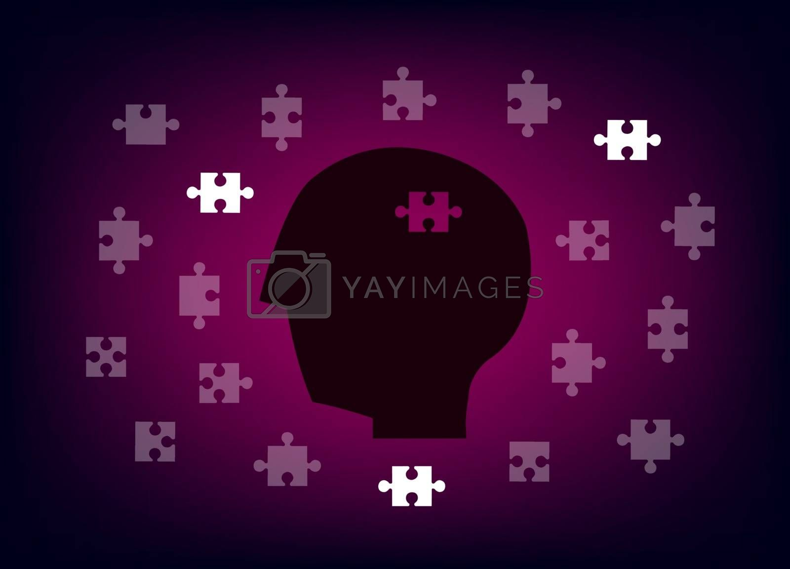 Head with jigsaws on gradients background.