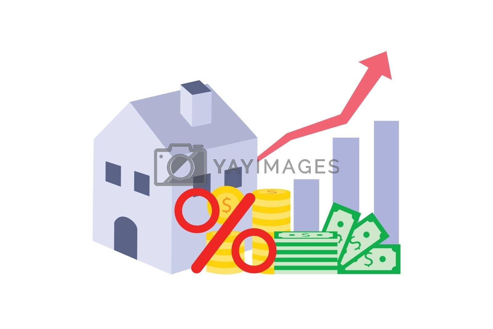 Home with money and percent symbol isolated on white background.