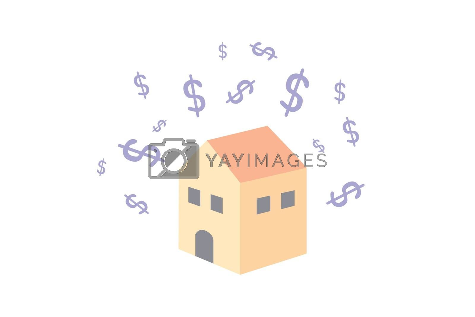 Dollars symbol floating above the house. Dollars symbol with house isolated on white background.