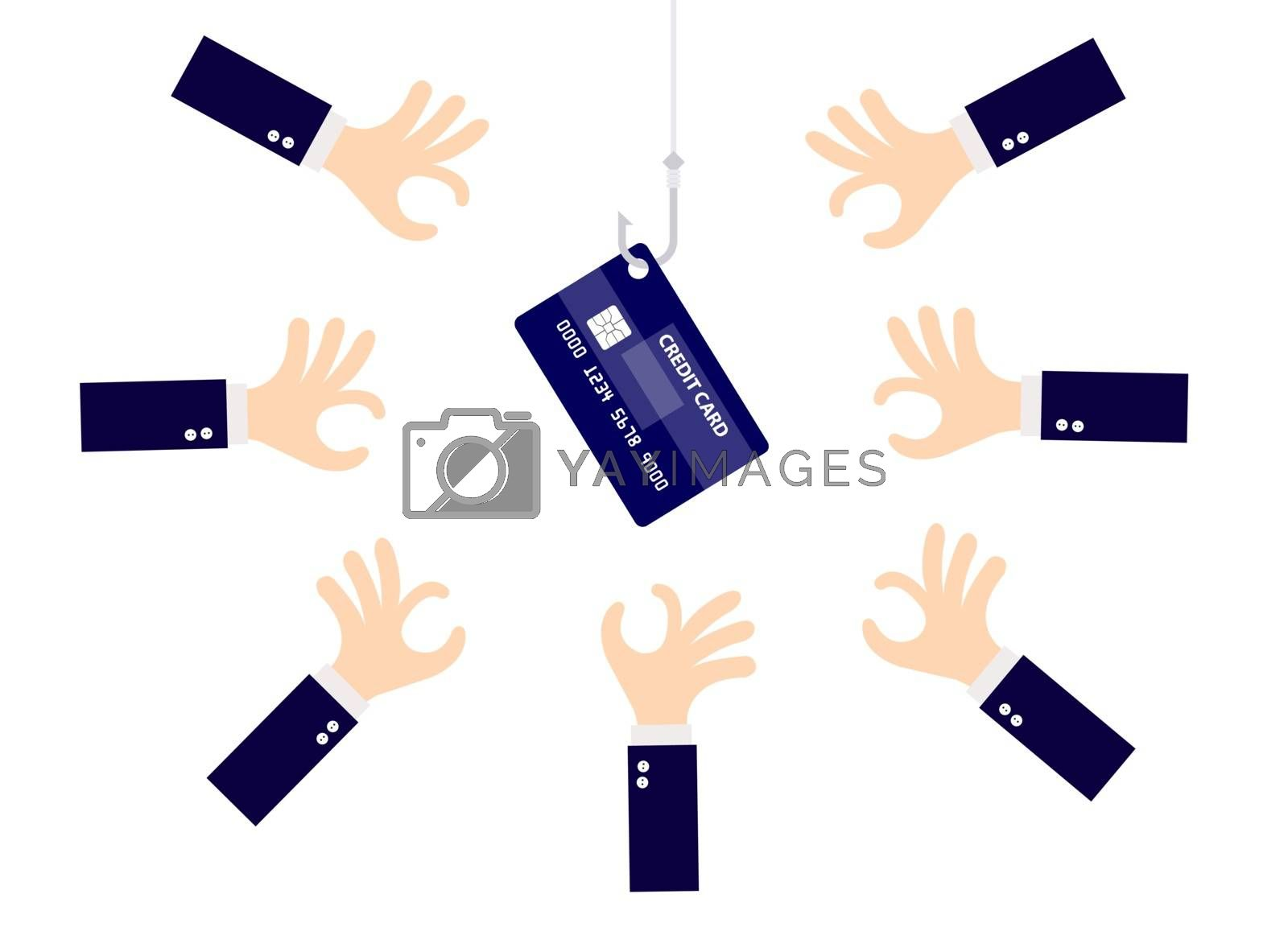Credit card hooked hook with many hand are scramble isolated on white background.