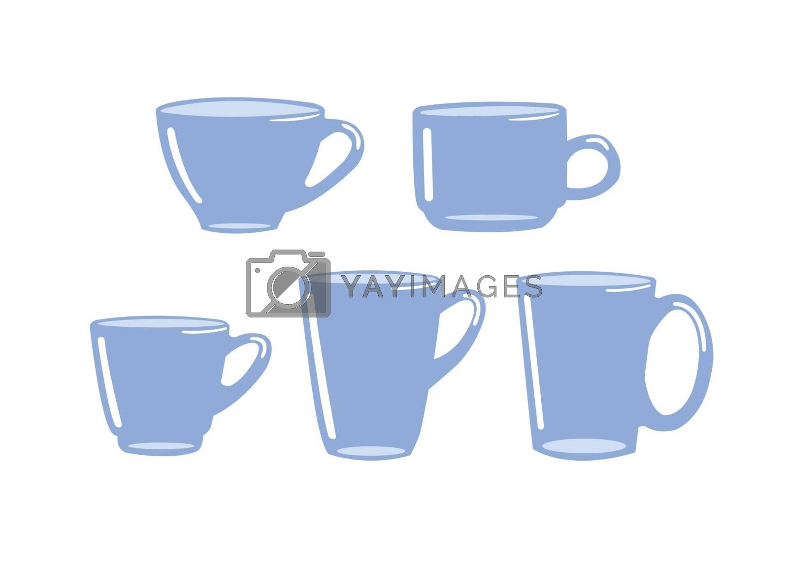 Set of tea cup isolated on white background.