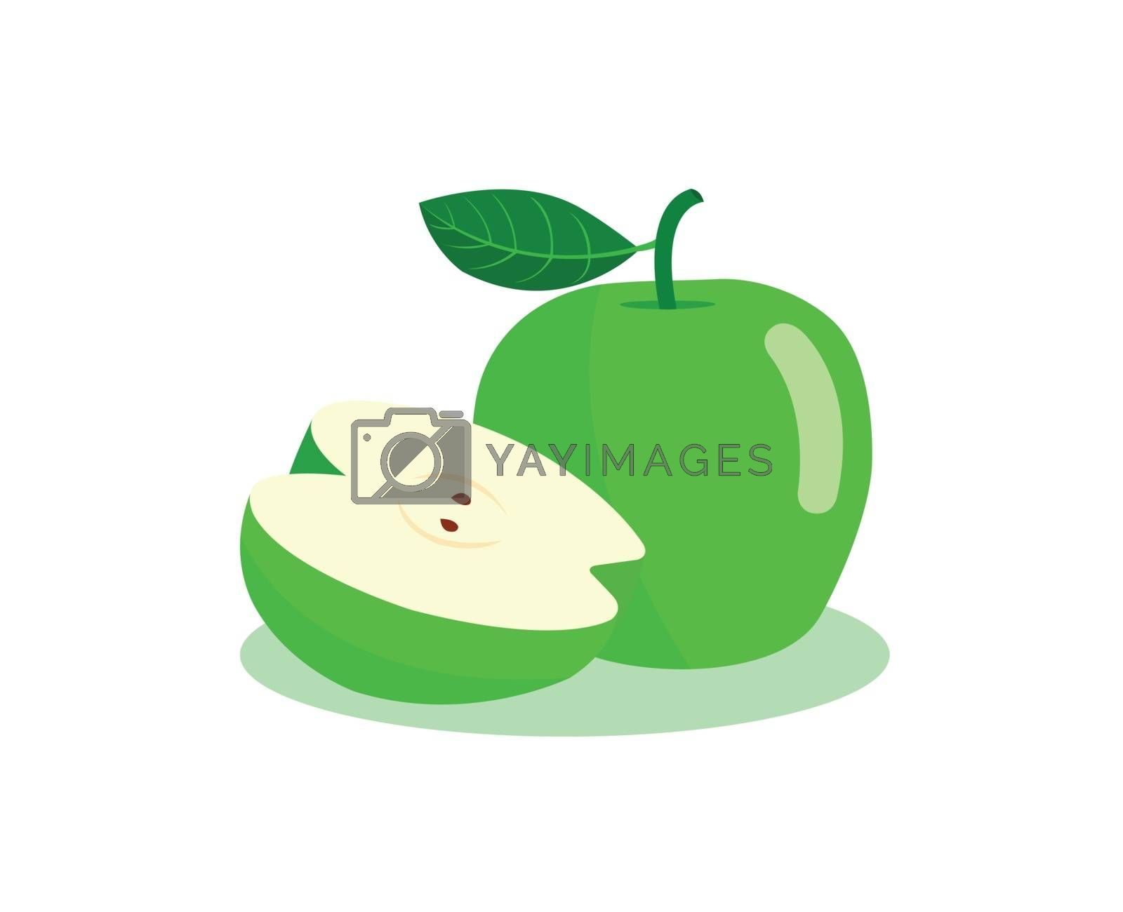 Green apple and half cut apple isolated on white background.