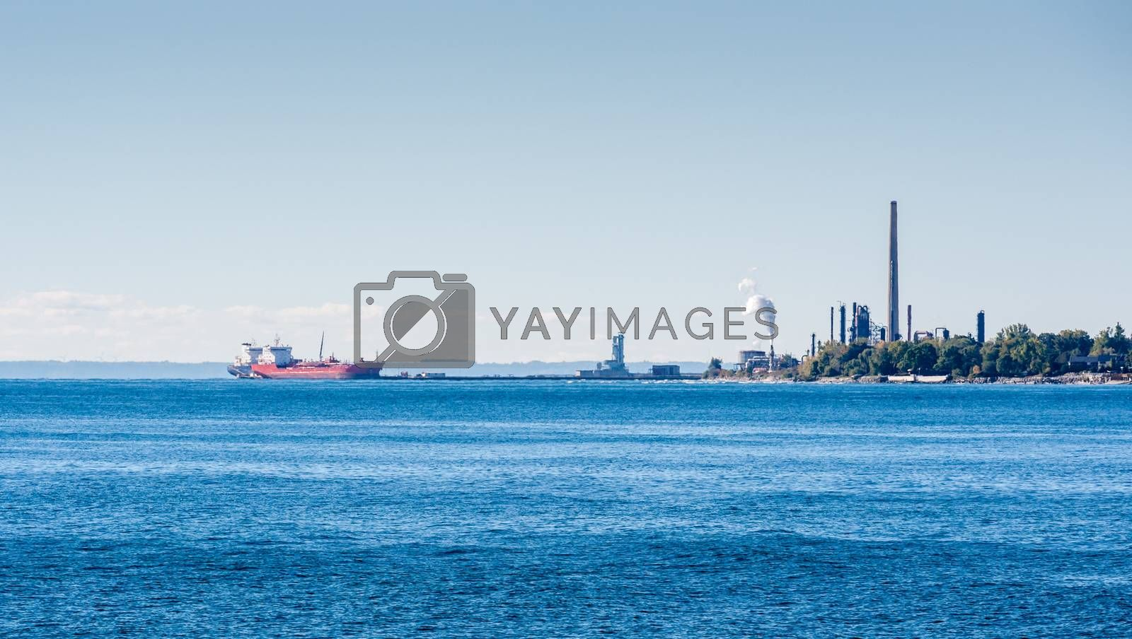 MISSISSAUGA, CANADA - OCTOBER 10, 2016: Tanker ships are docked at the Suncor Energy lubricants plant on the northern shore of Lake Ontario.