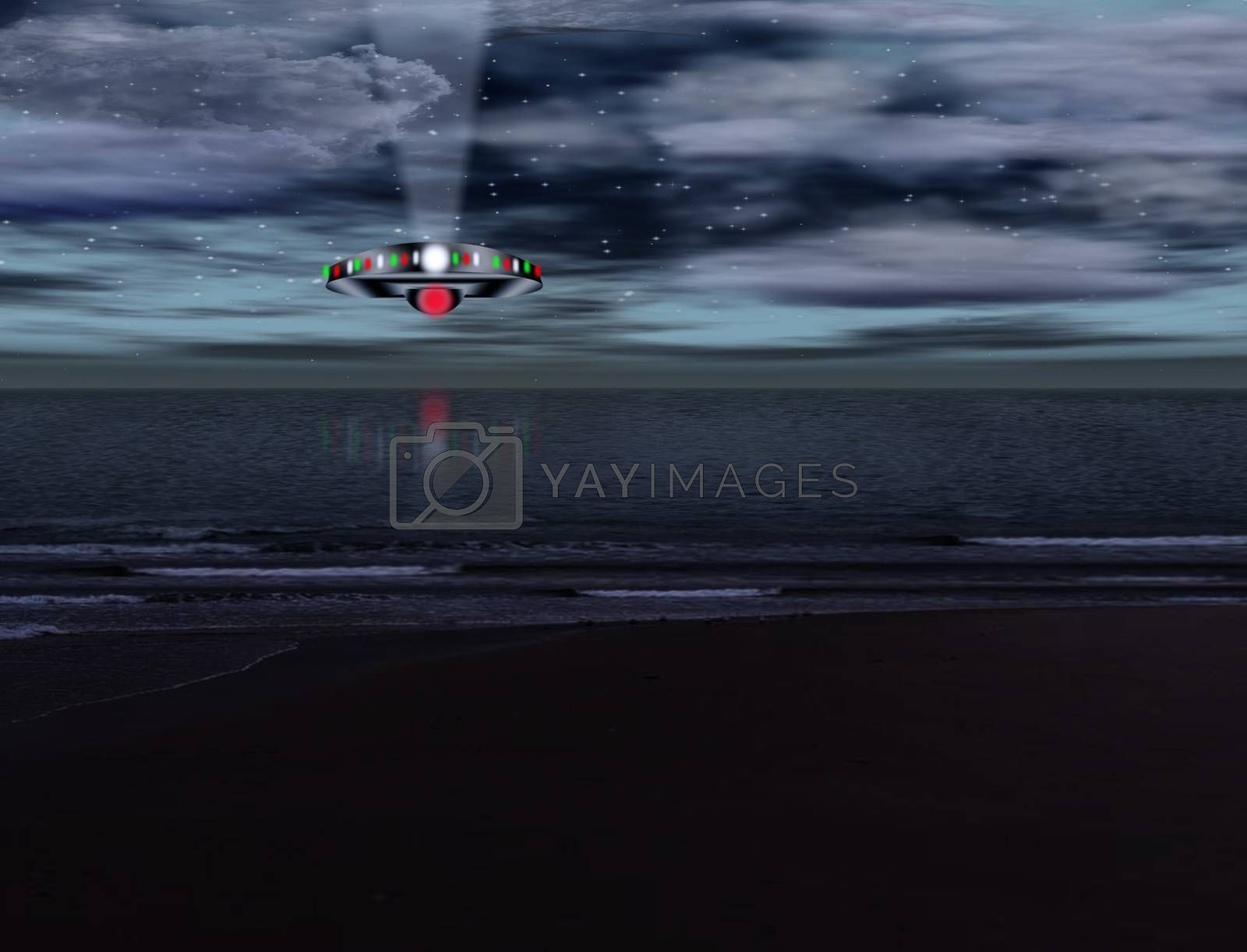 UFO hovers over seascape