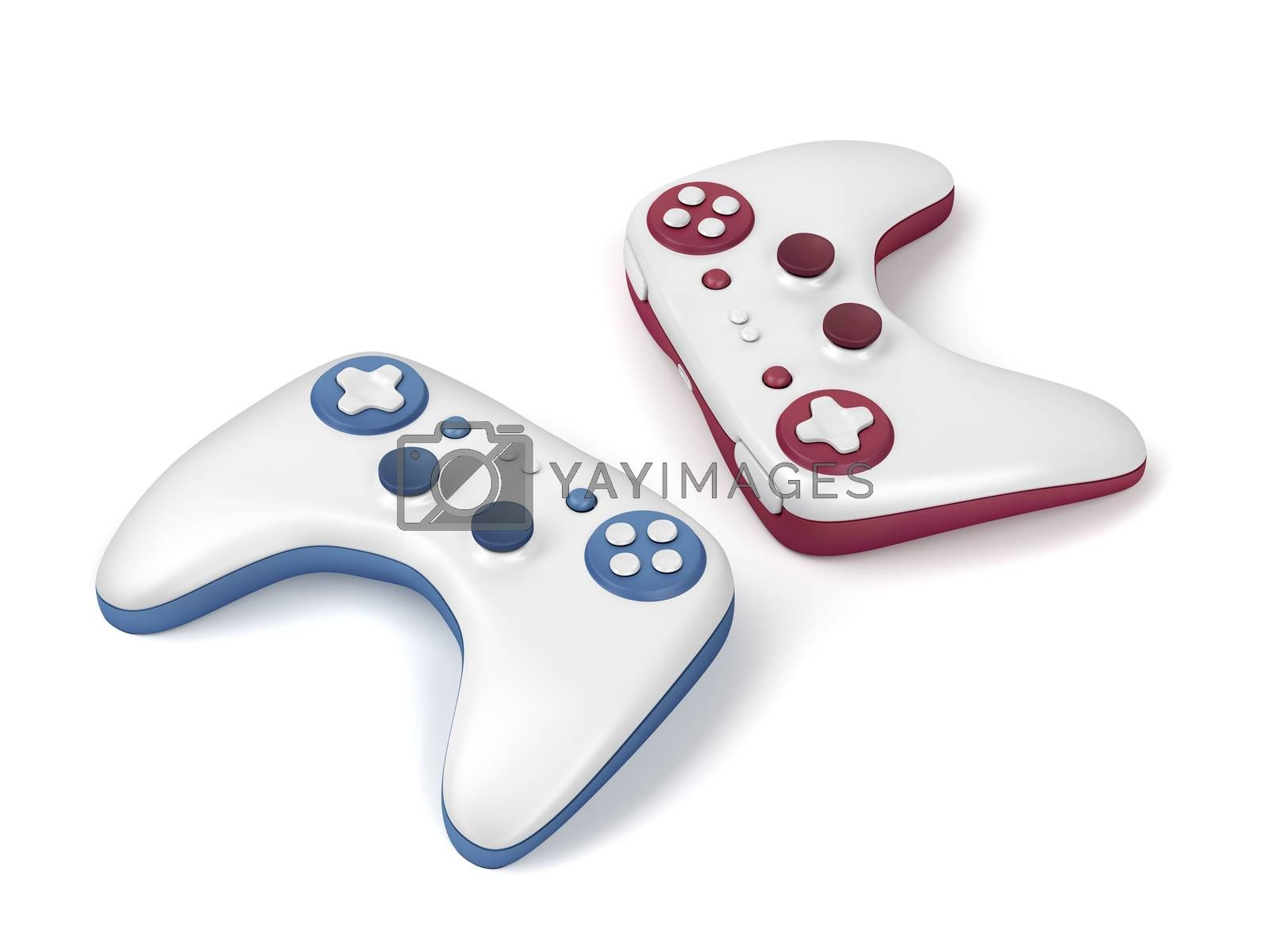 Pair of wireless gaming controllers on white background