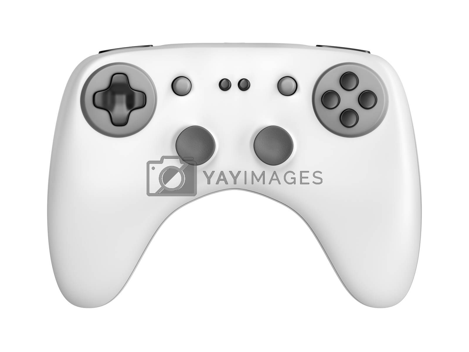 Front view of wireless game controller, isolated on white background