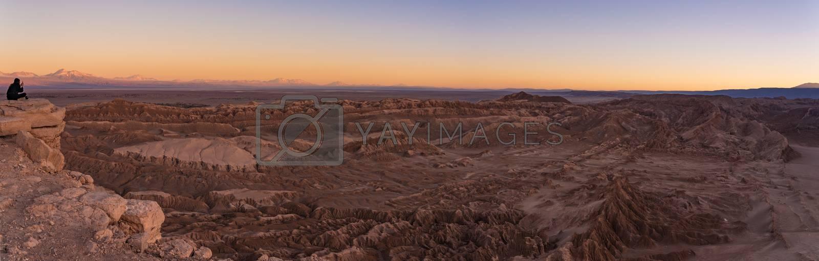 Royalty free image of Sunset at Moon Valley Valle de la luna near San Pedro de Atacama in Chile. by maramade