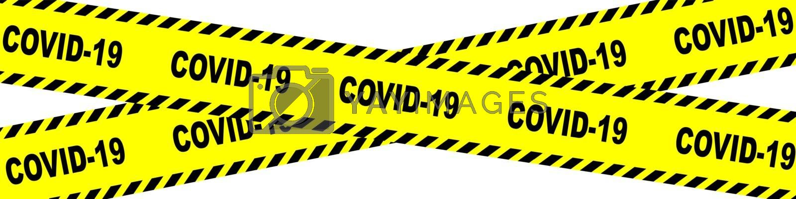 Warning tape in yellow with black chevrons and the text  Covid 19 on a white background