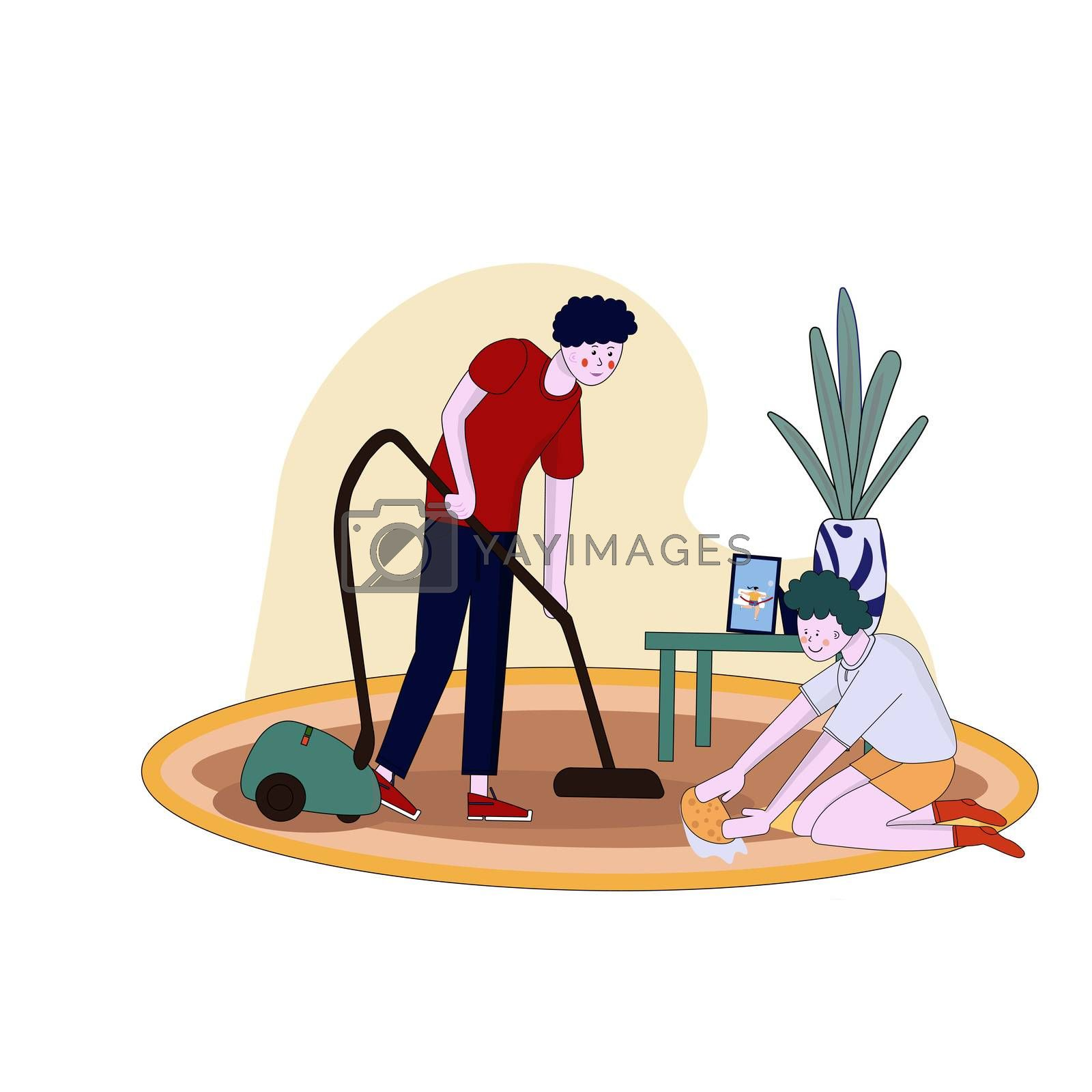 Father and son clean flat vacuuming with vacuumer cartoon illustration
